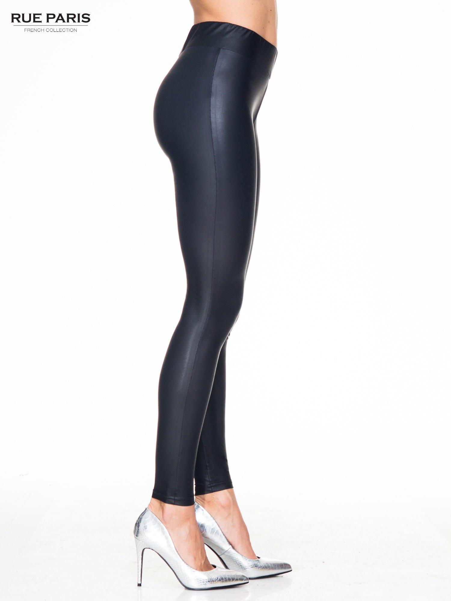 Czarne modelujące skórzane legginsy                                  zdj.                                  3