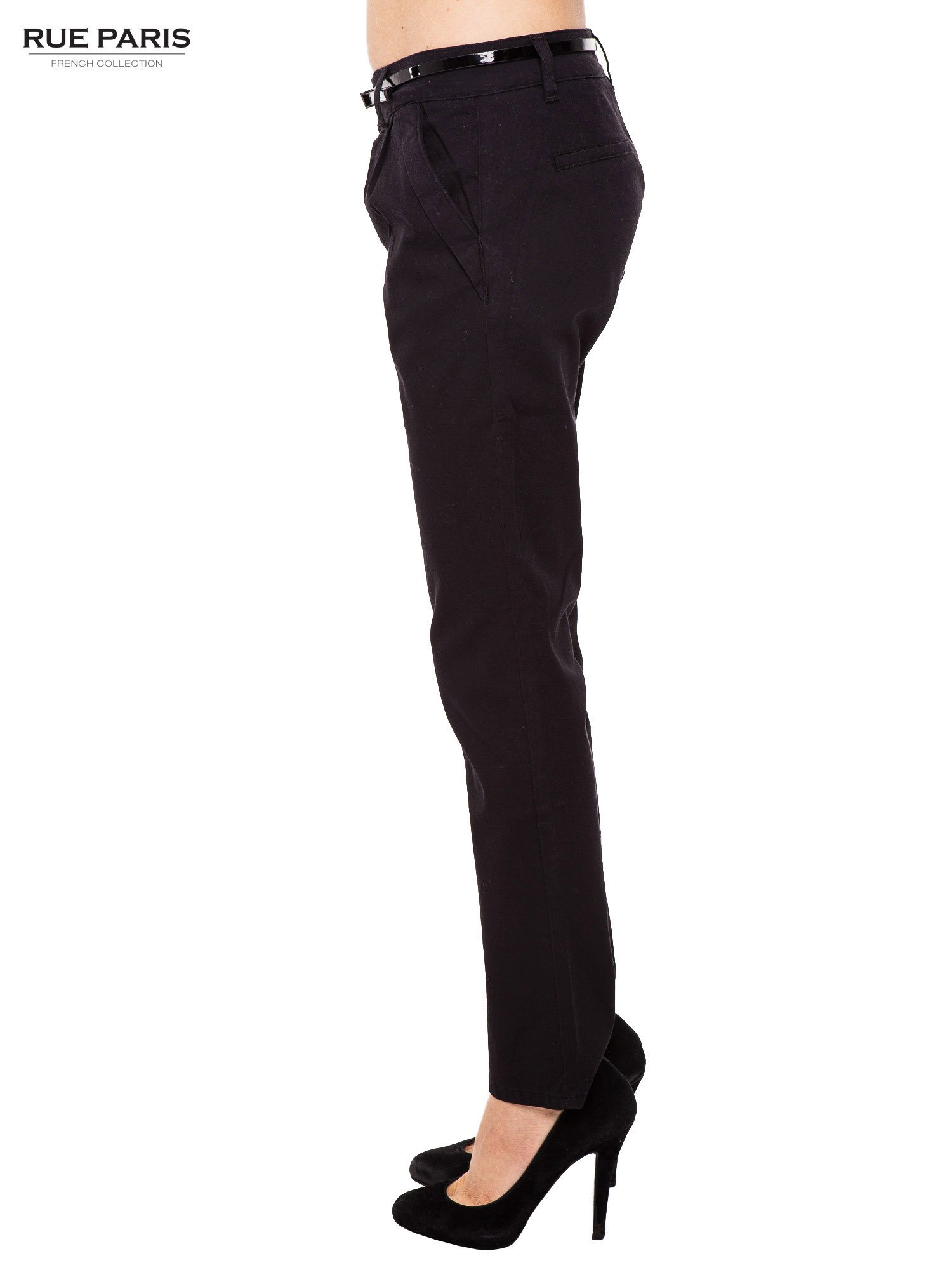 Czarne proste spodnie z paskiem                                  zdj.                                  3