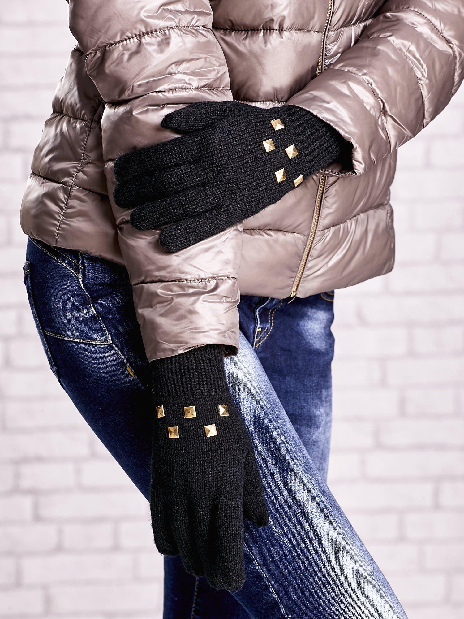 Czarne rękawiczki  z ćwiekami i ściągaczem                                  zdj.                                  3
