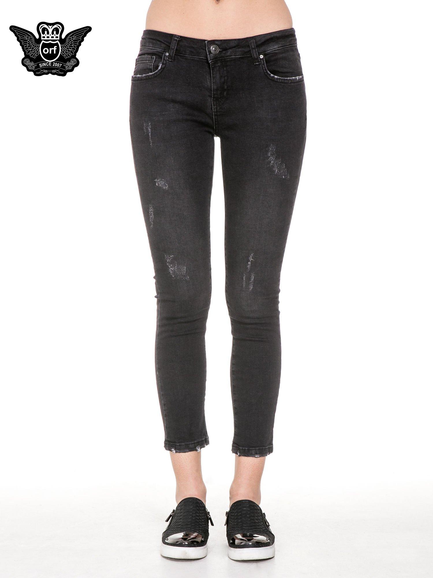 Czarne rozjaśniane spodnie jeansowe 7/8 z przetarciami                                  zdj.                                  5
