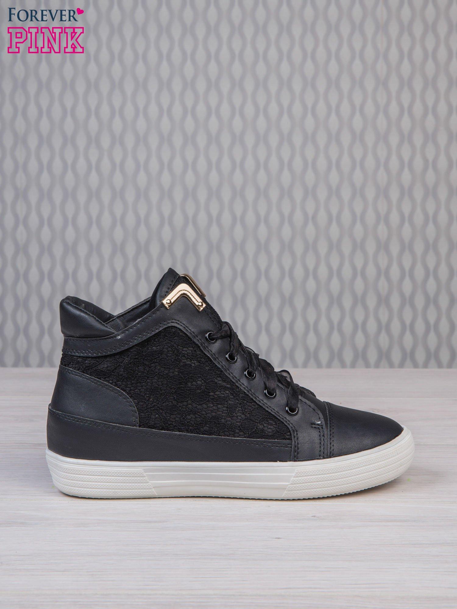 Czarne skórzane sneakersy z koronkowymi wstawkami Lace Dream                                  zdj.                                  2