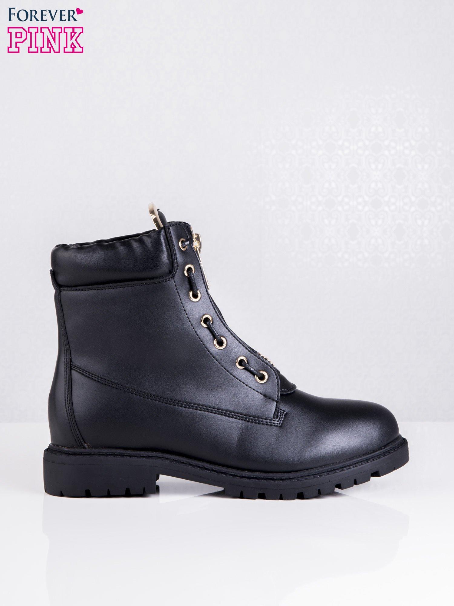 Czarne skórzane traperki leather Fancy ze złotym suwakiem i dodatkami                                  zdj.                                  1