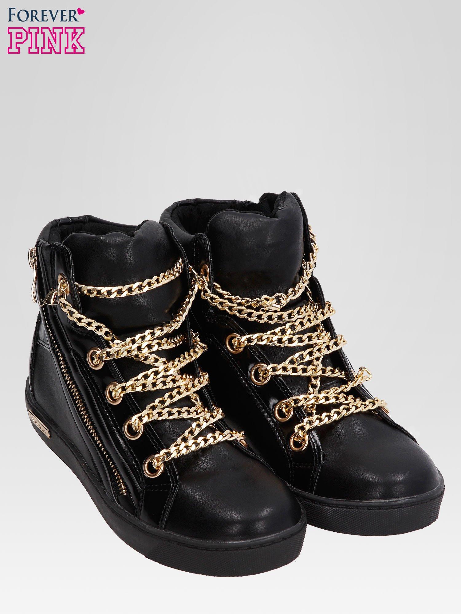 Czarne sneakersy damskie ze złotym łańcuszkiem                                  zdj.                                  6