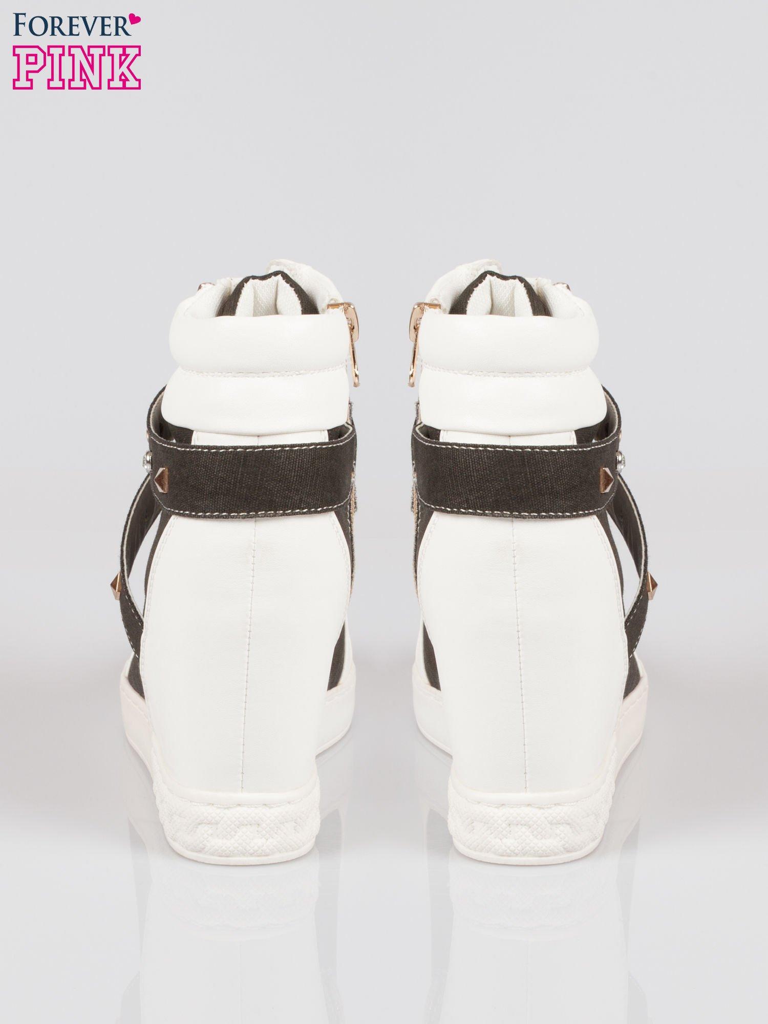 Czarne sneakersy z dżetami i suwakiem                                  zdj.                                  3
