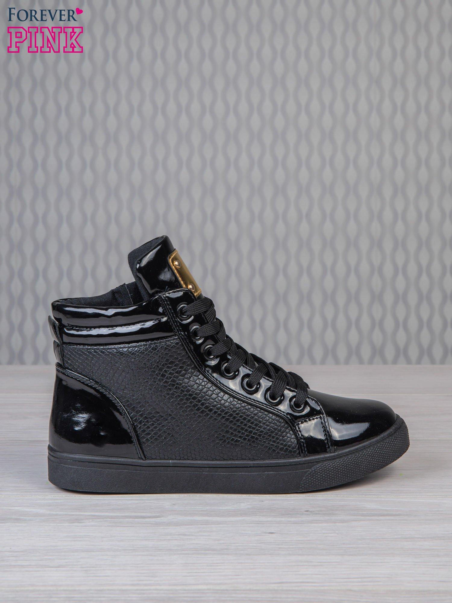 Czarne sneakersy z suwakiem i motywem skóry krokodyla                                  zdj.                                  1