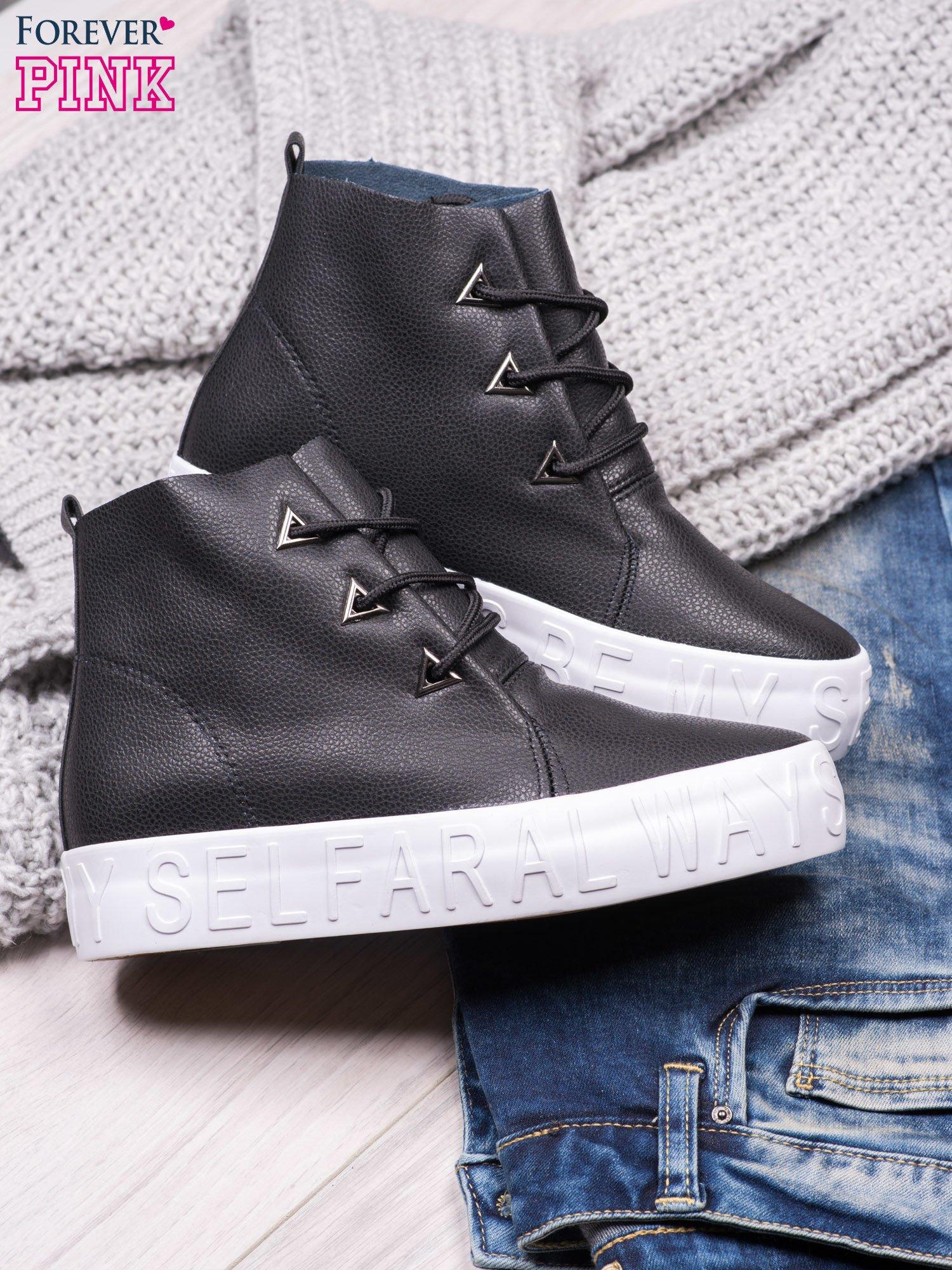 Czarne sneakersy za kostkę Ally z surowym wykończeniem                                  zdj.                                  1