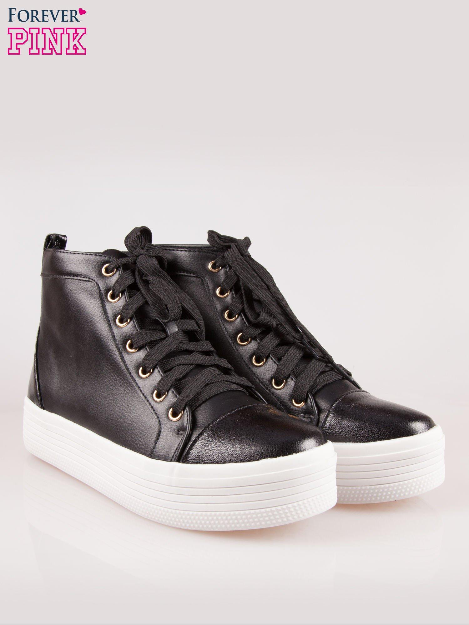 Czarne sneakersy za kostkę na grubej podeszwie                                  zdj.                                  2