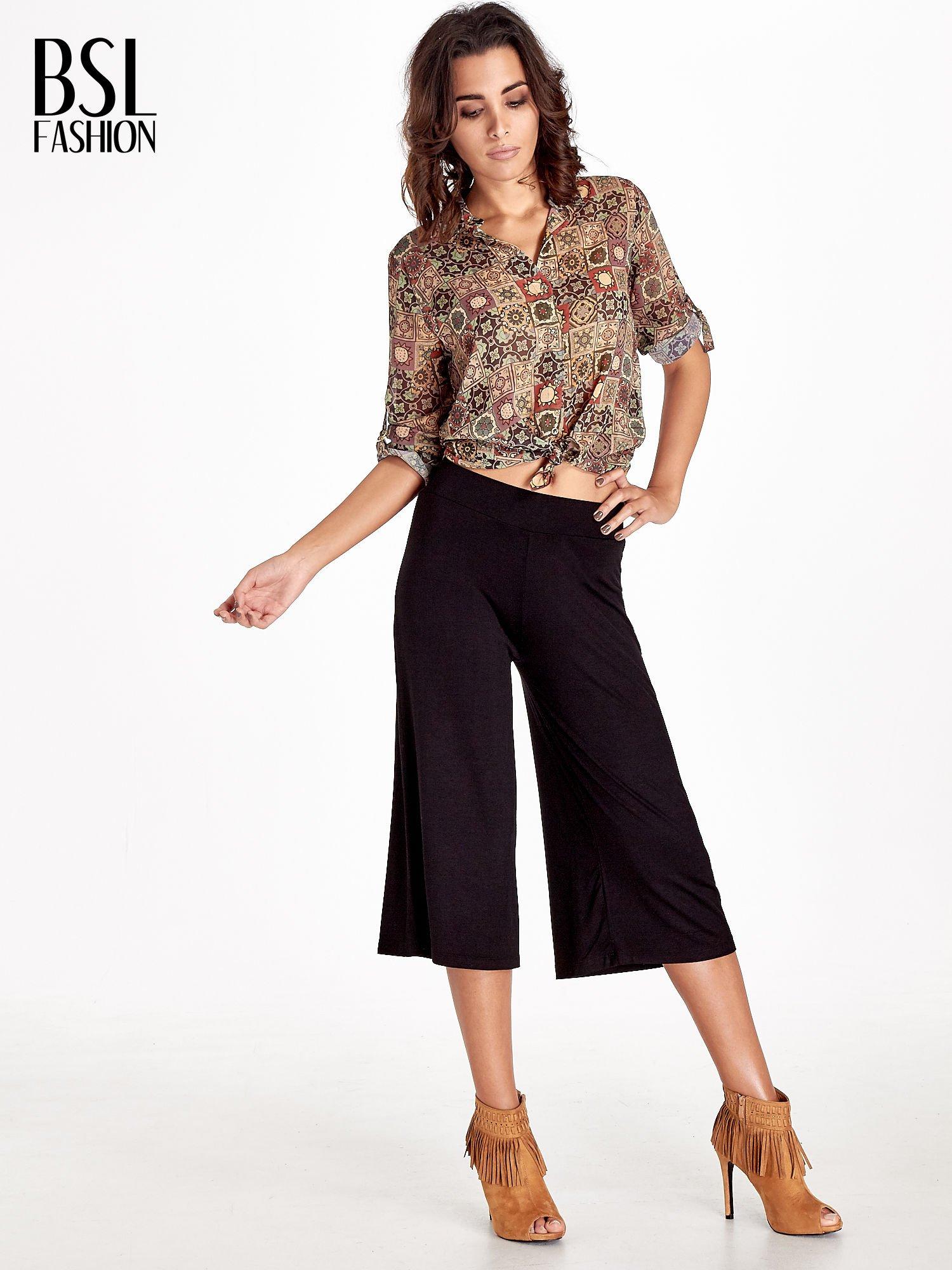 Czarne spódnicospodnie typu culottes                                  zdj.                                  4