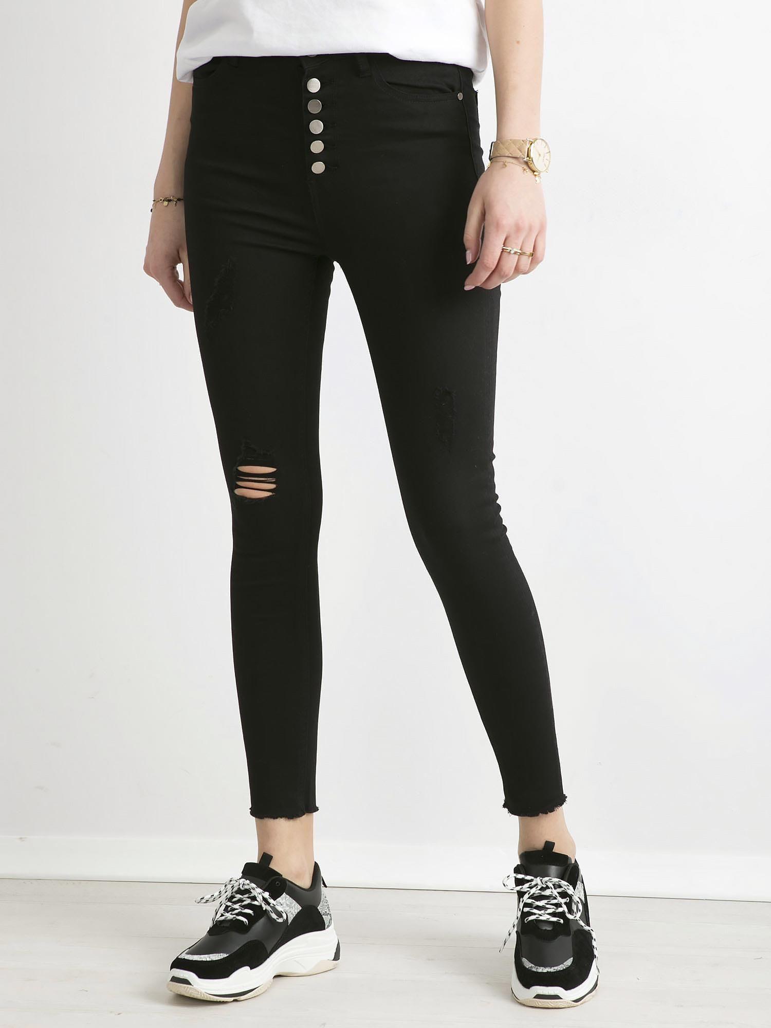 11856d75 Czarne spodnie damskie z wysokim stanem