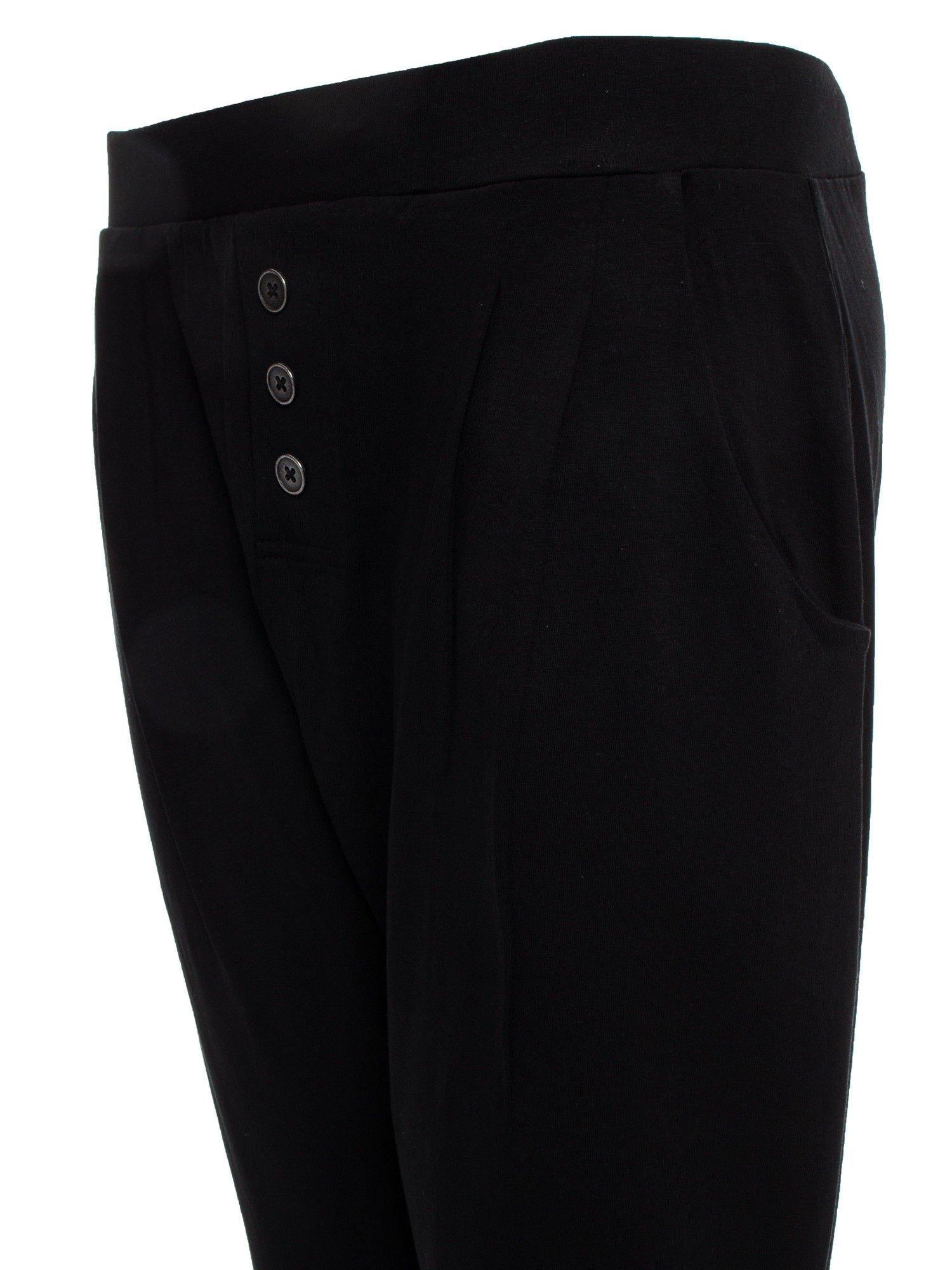 Czarne spodnie dresowe typu baggy z guziczkami                                  zdj.                                  6