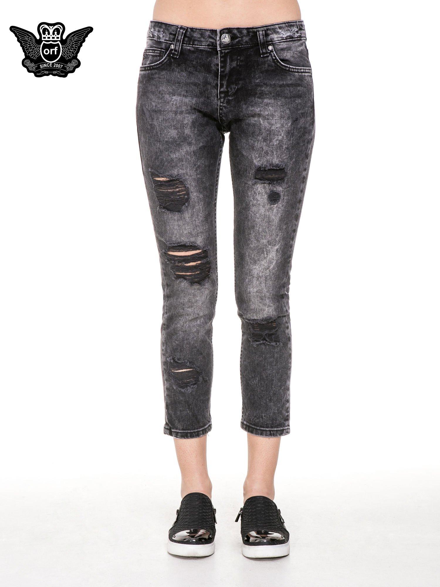 Czarne spodnie jeansowe rurki z dziurami przetarciami                                  zdj.                                  5