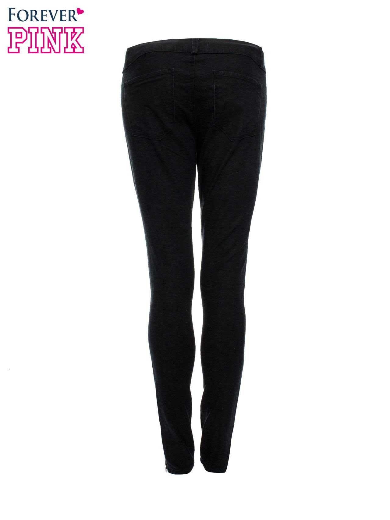 Czarne spodnie jeansowe typu skinny z suwakami na górze i przy nogawkach                                  zdj.                                  5