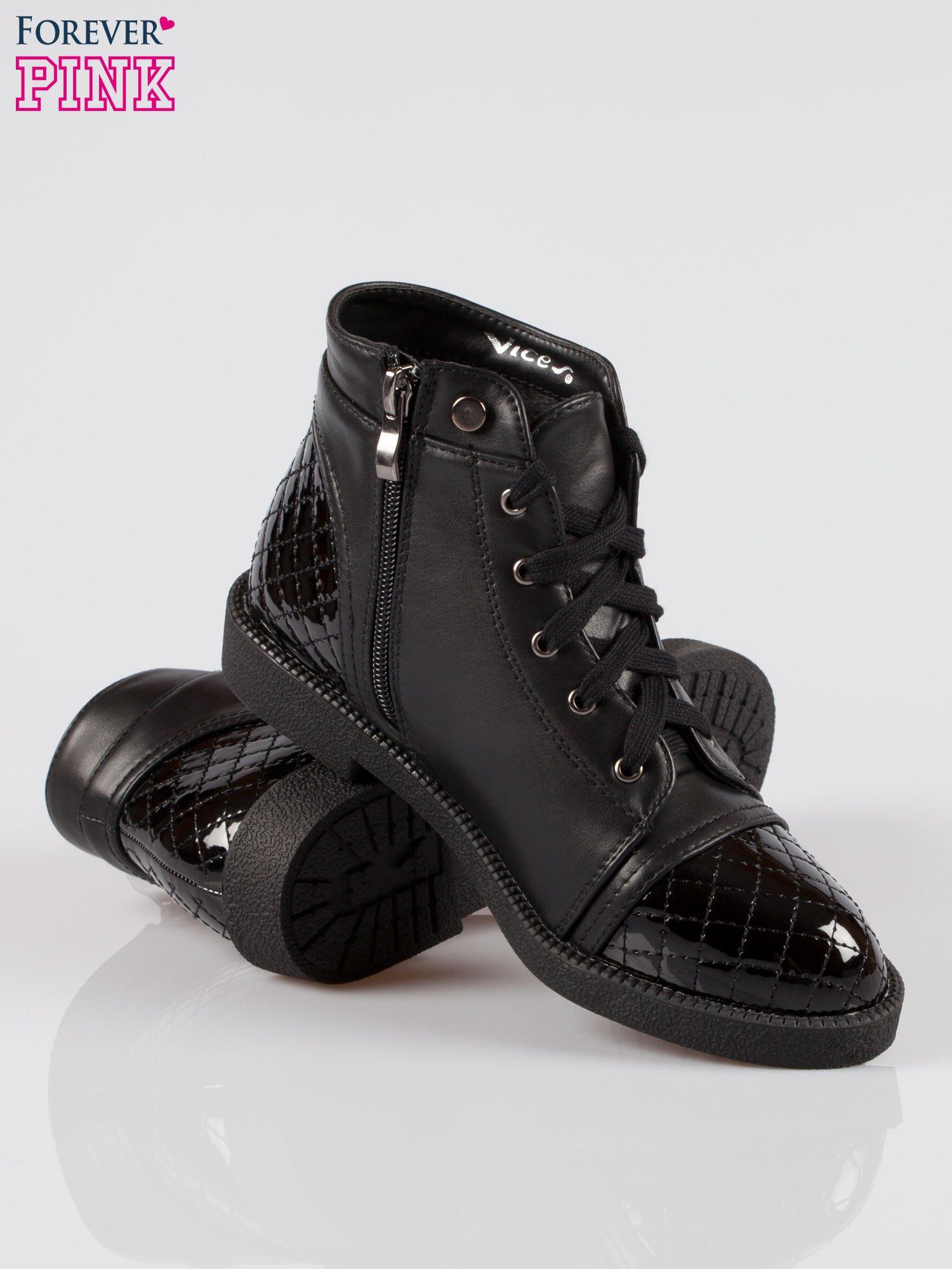Czarne sznurowane botki damskie crocodile skin cap toe                                  zdj.                                  4