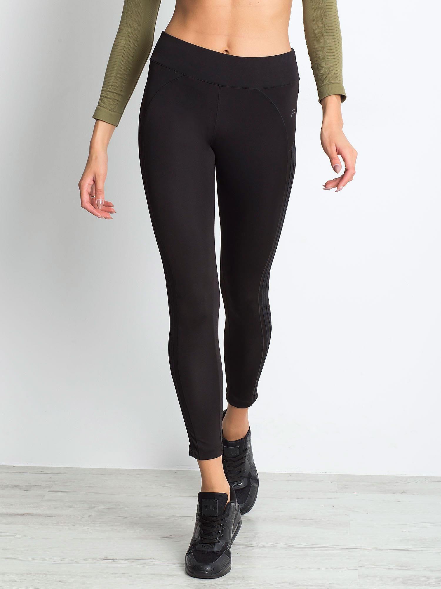 Czarne termoaktywne legginsy do biegania z błyszczącymi lampasami ♦ Performance RUN                                  zdj.                                  5