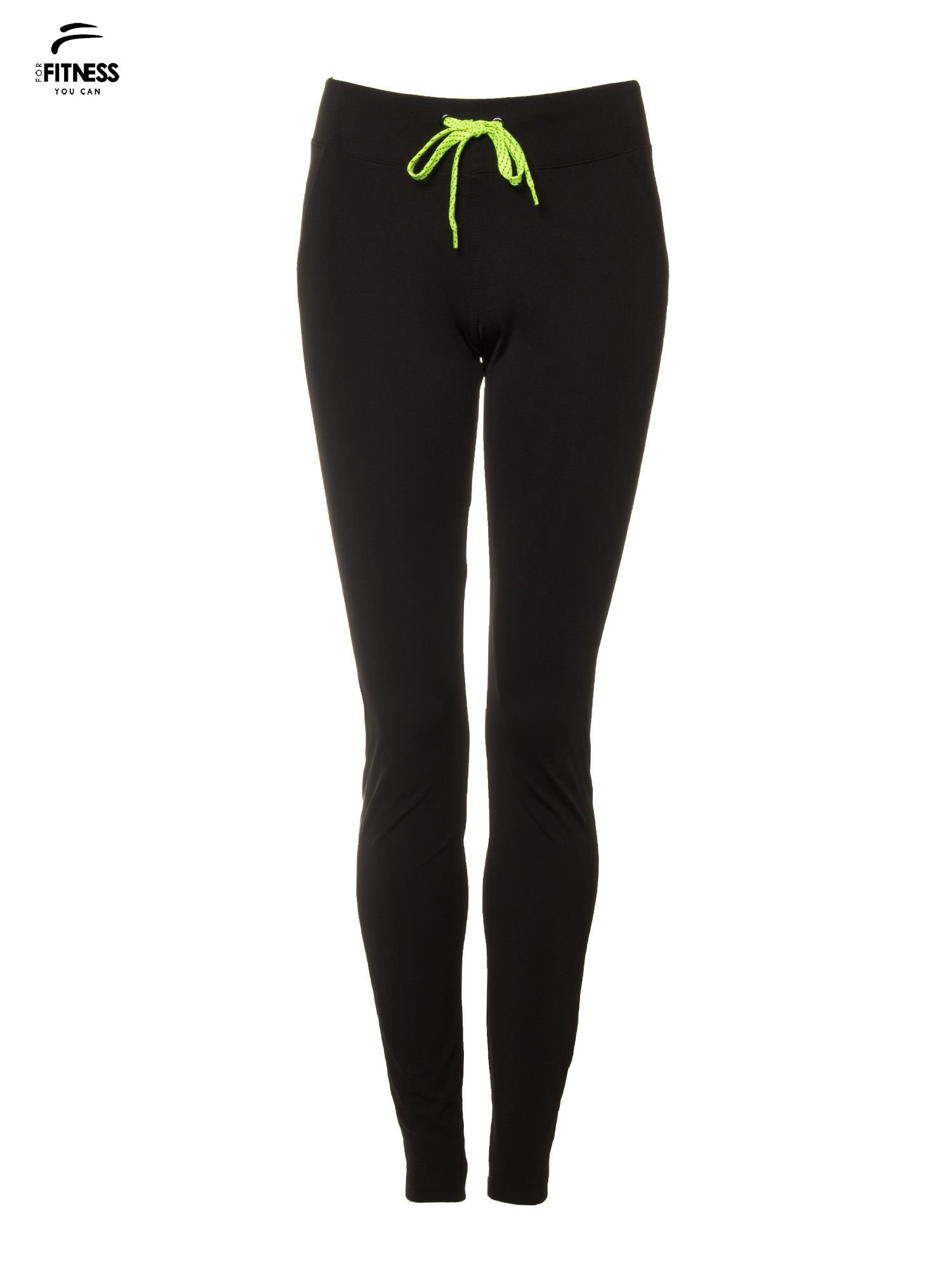 Czarne termoaktywne spodnie do biegania o prostej nogawce z fluozieloną wstawką ♦ Performance RUN                                  zdj.                                  5