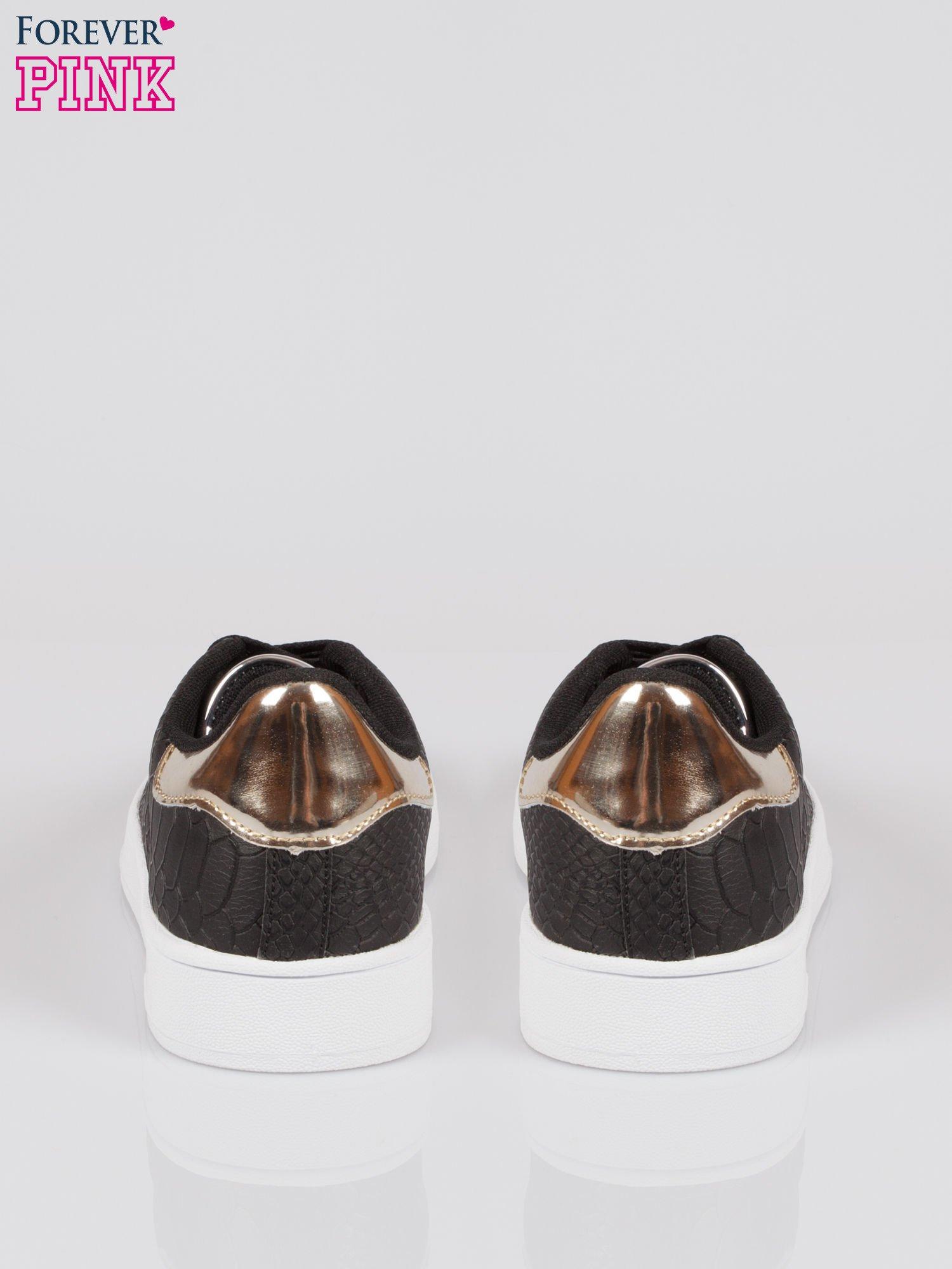 Czarne wężowe buty sportowe gold cap toe                                  zdj.                                  3