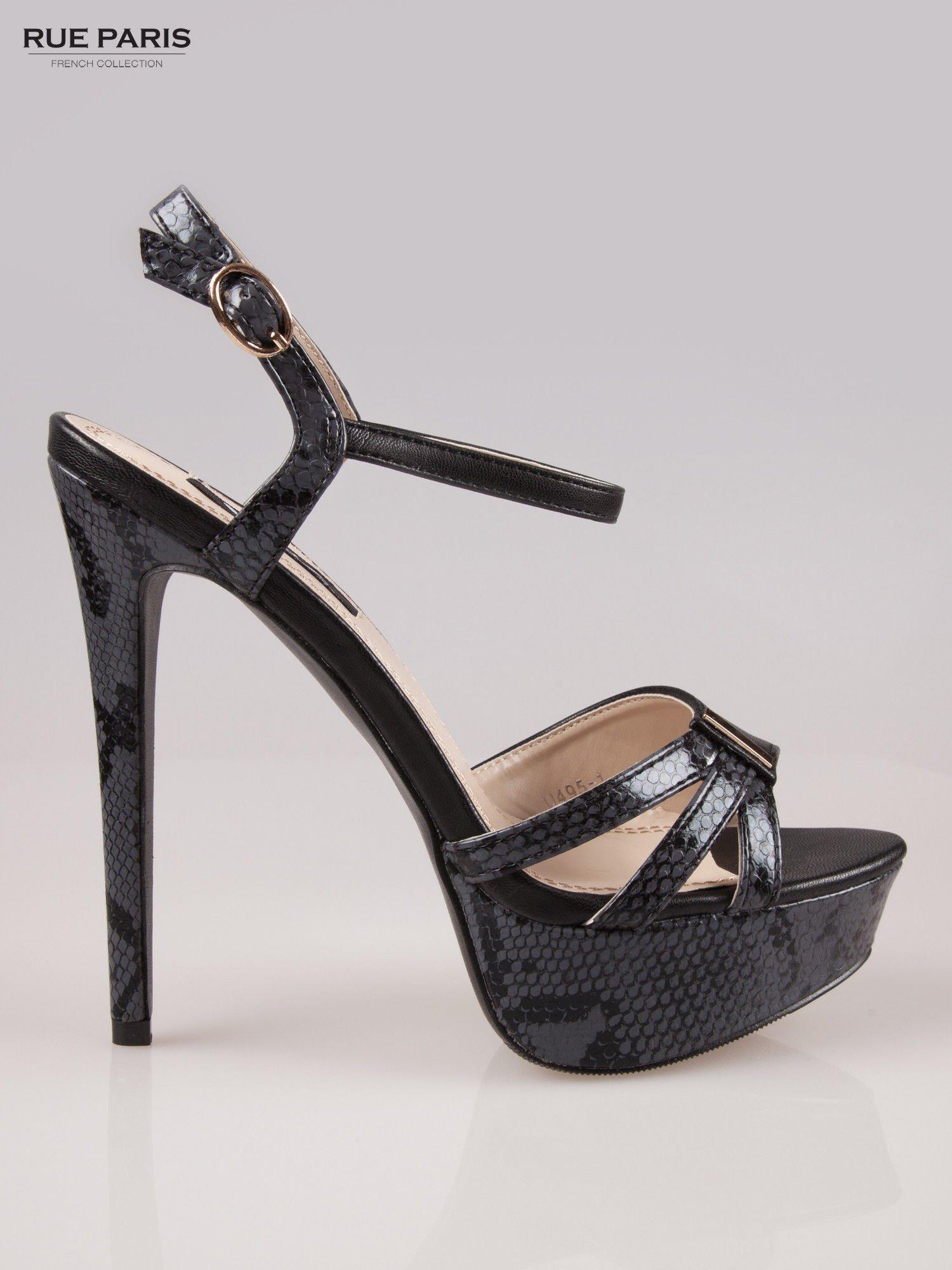 Czarne wężowe sandały na szpilce Amber zapinane na kostce                                  zdj.                                  1
