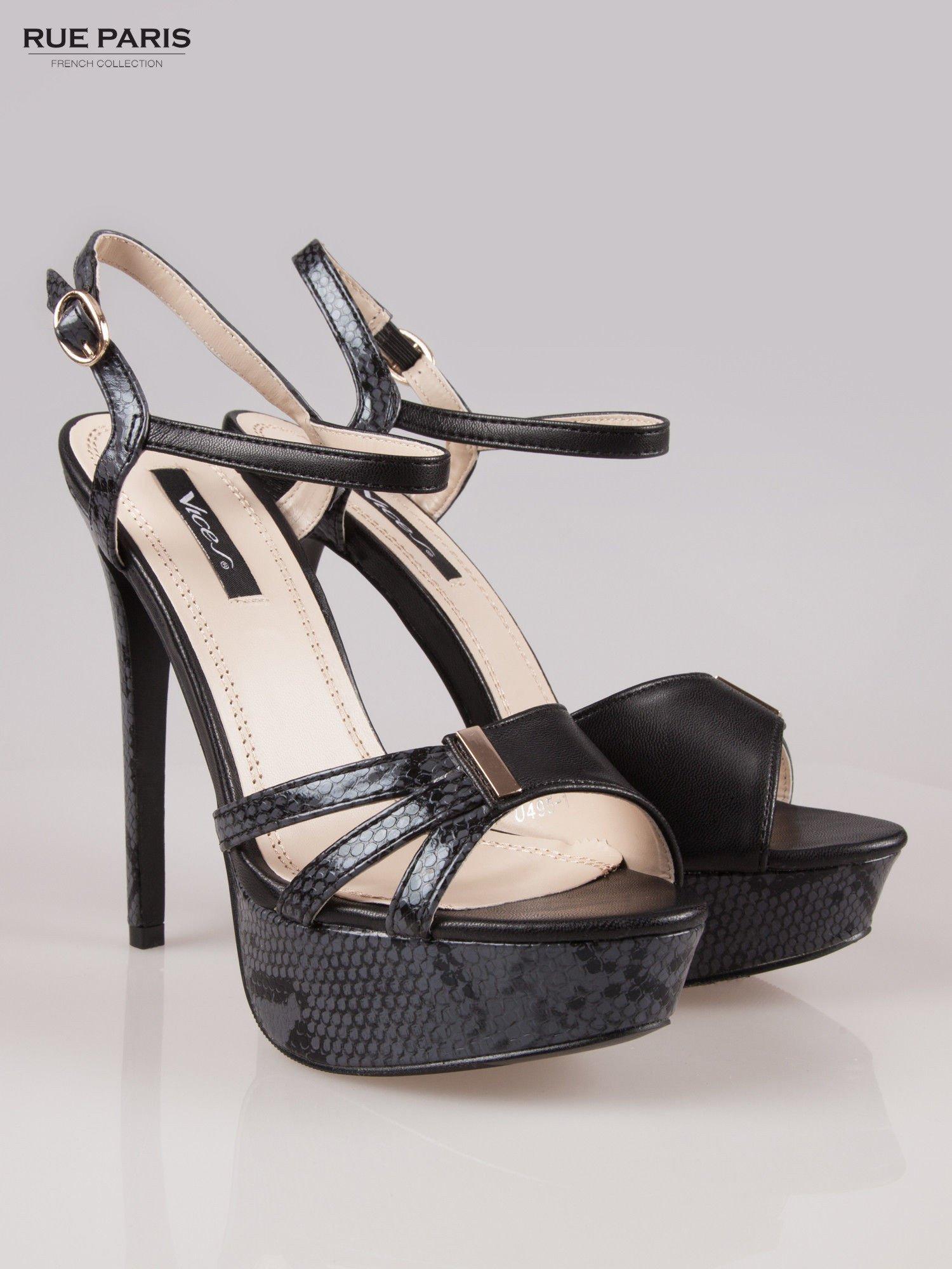 Czarne wężowe sandały na szpilce Amber zapinane na kostce                                  zdj.                                  2