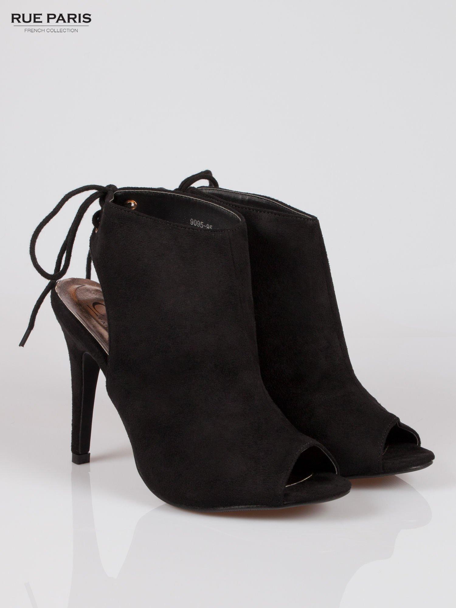 Czarne wiązane botki lace up z odkrytą piętą                                  zdj.                                  2