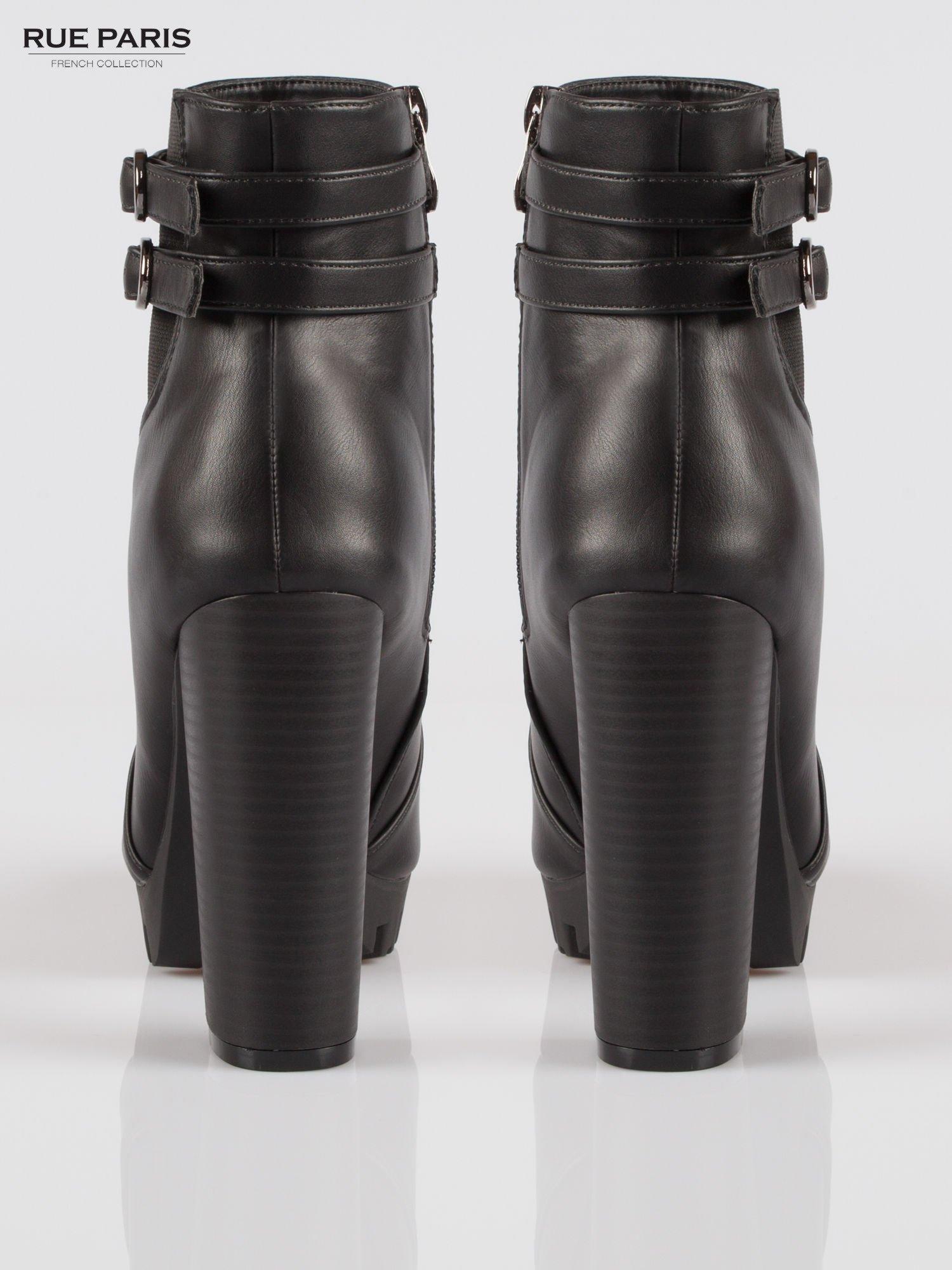 Czarne wysokie botki z klamerkami na platformie w stylu motocyklowym                                  zdj.                                  3