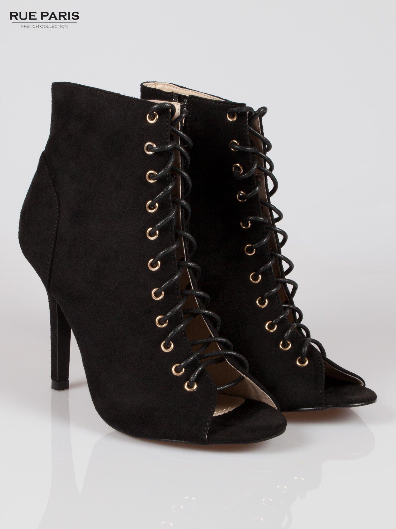 Czarne zamszowe sznurowane botki lace up                                  zdj.                                  2