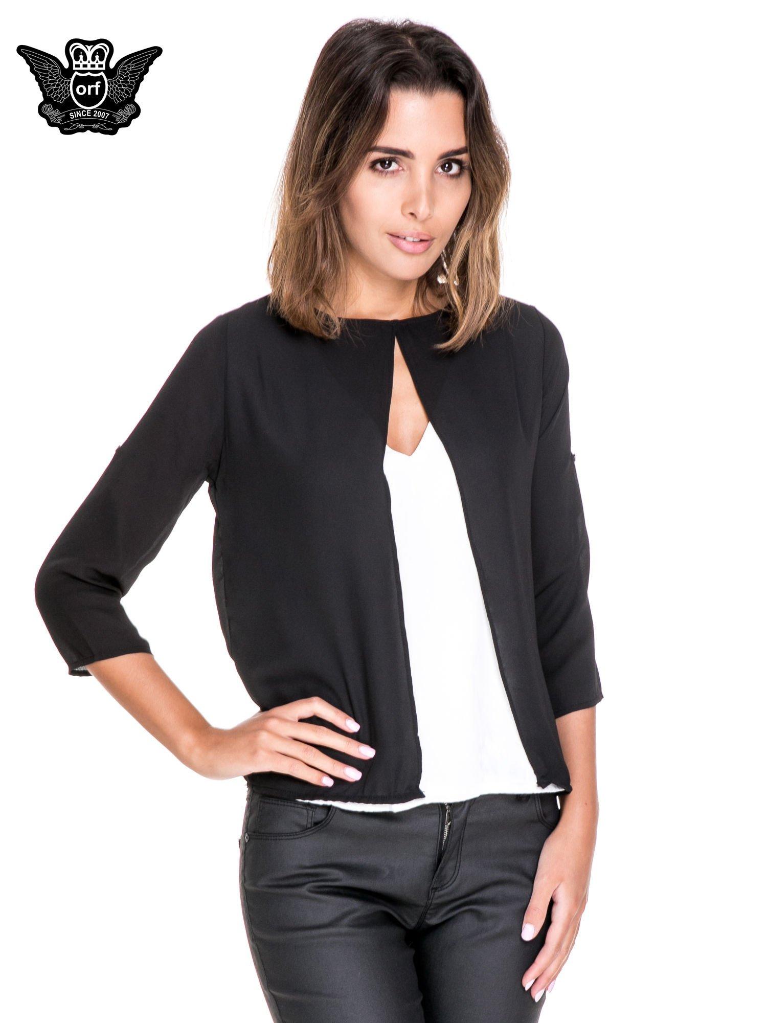 Czarno-biała dwuwarstwowa koszula o kroju narzutki                                  zdj.                                  1