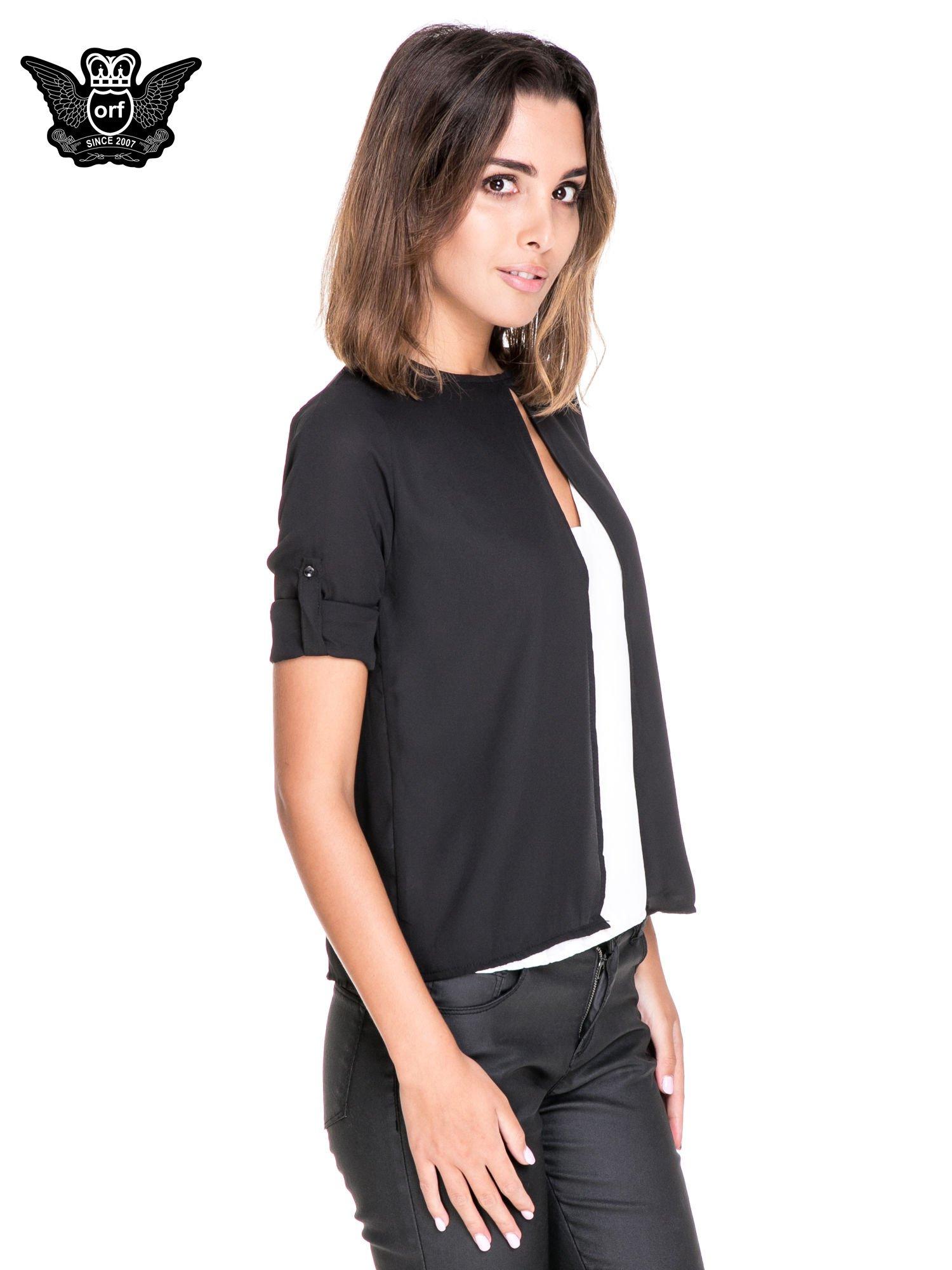 Czarno-biała dwuwarstwowa koszula o kroju narzutki                                  zdj.                                  5