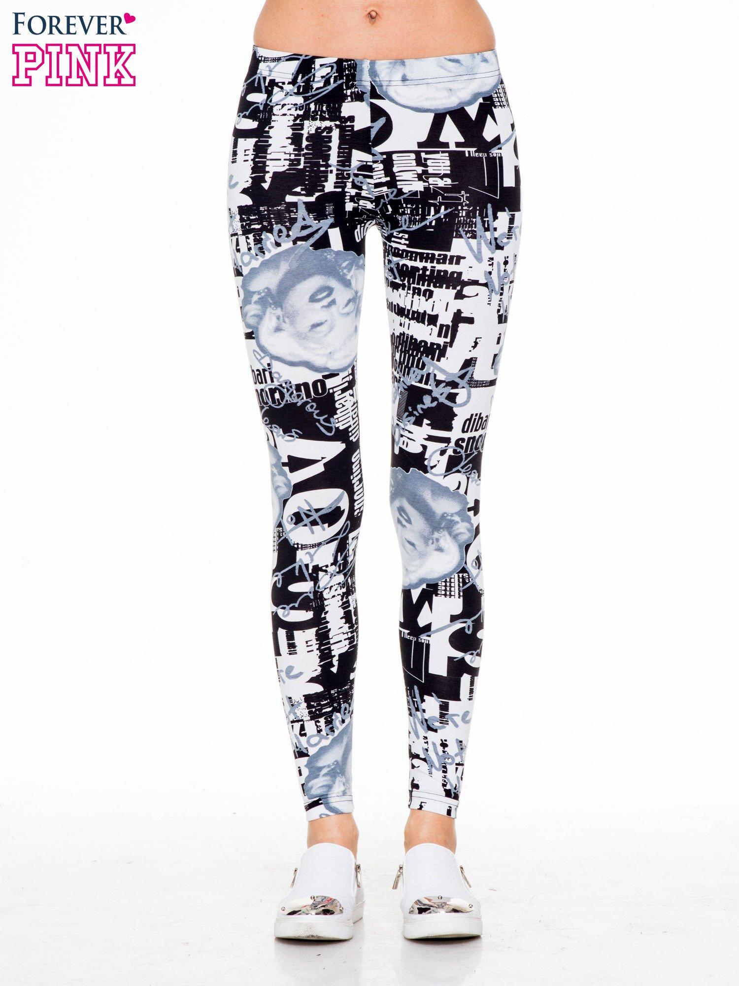 Czarno-białe legginsy z nadrukiem Marilyn Monroe                                  zdj.                                  1