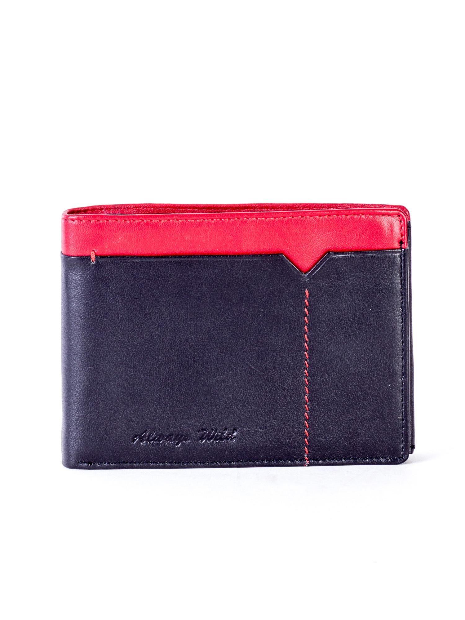d2dd385a8a5d4 Czarno-czerwony skórzany portfel męski - Mężczyźni portfel męski ...