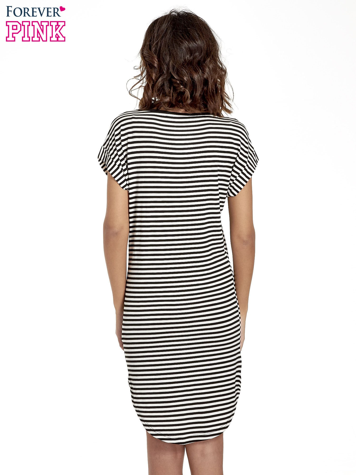 Czarno-ecru sukienka w paski z napisem HAPPINESS                                  zdj.                                  4
