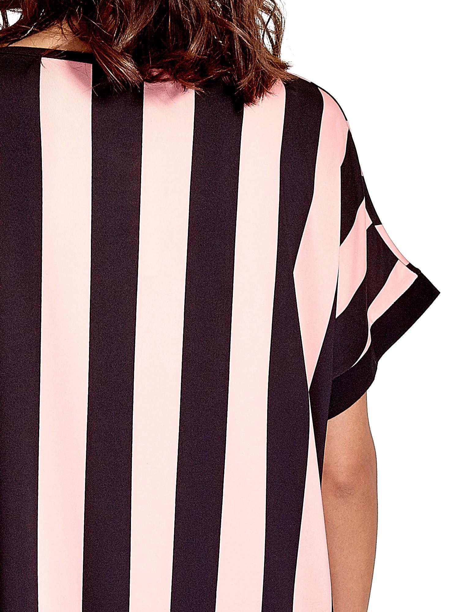 Czarno-różowa tunika w szerokie pionowe pasy                                  zdj.                                  5