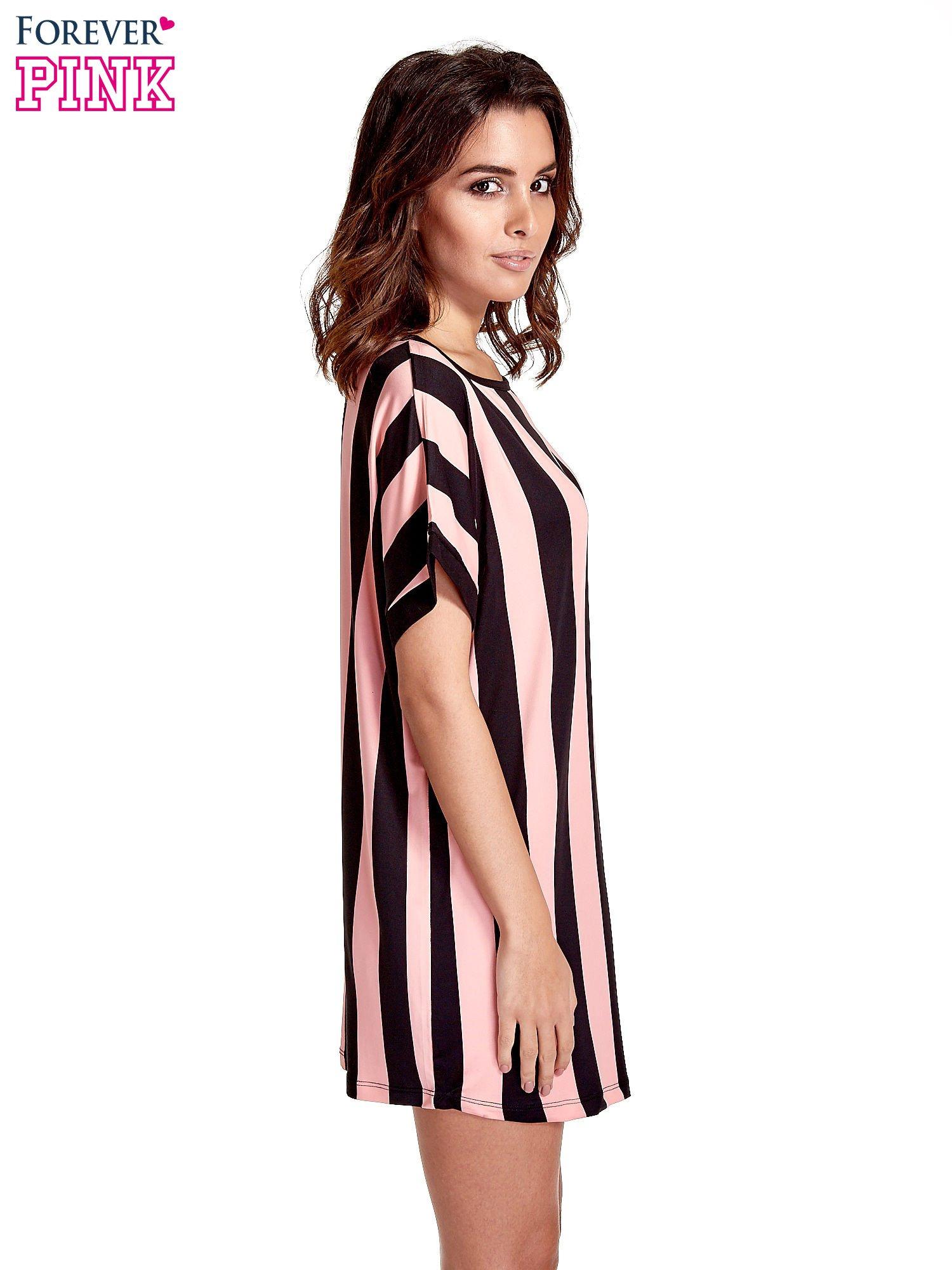 Czarno-różowa tunika w szerokie pionowe pasy                                  zdj.                                  3