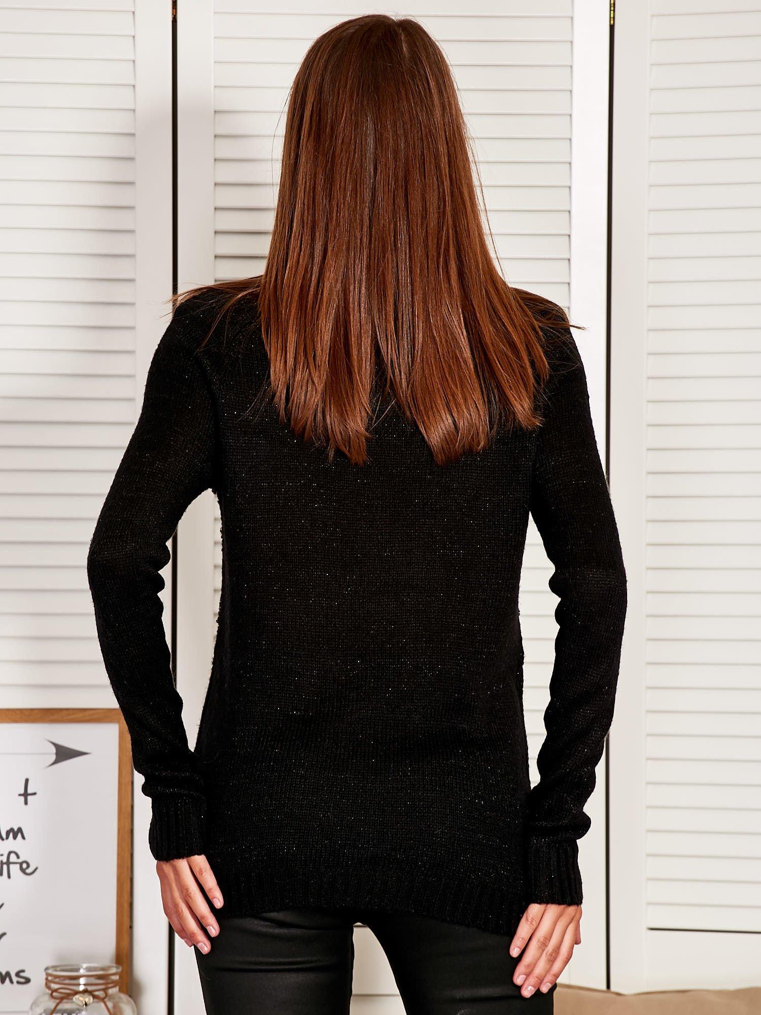 Czarny Sweter z dłuższym tyłem                                  zdj.                                  3