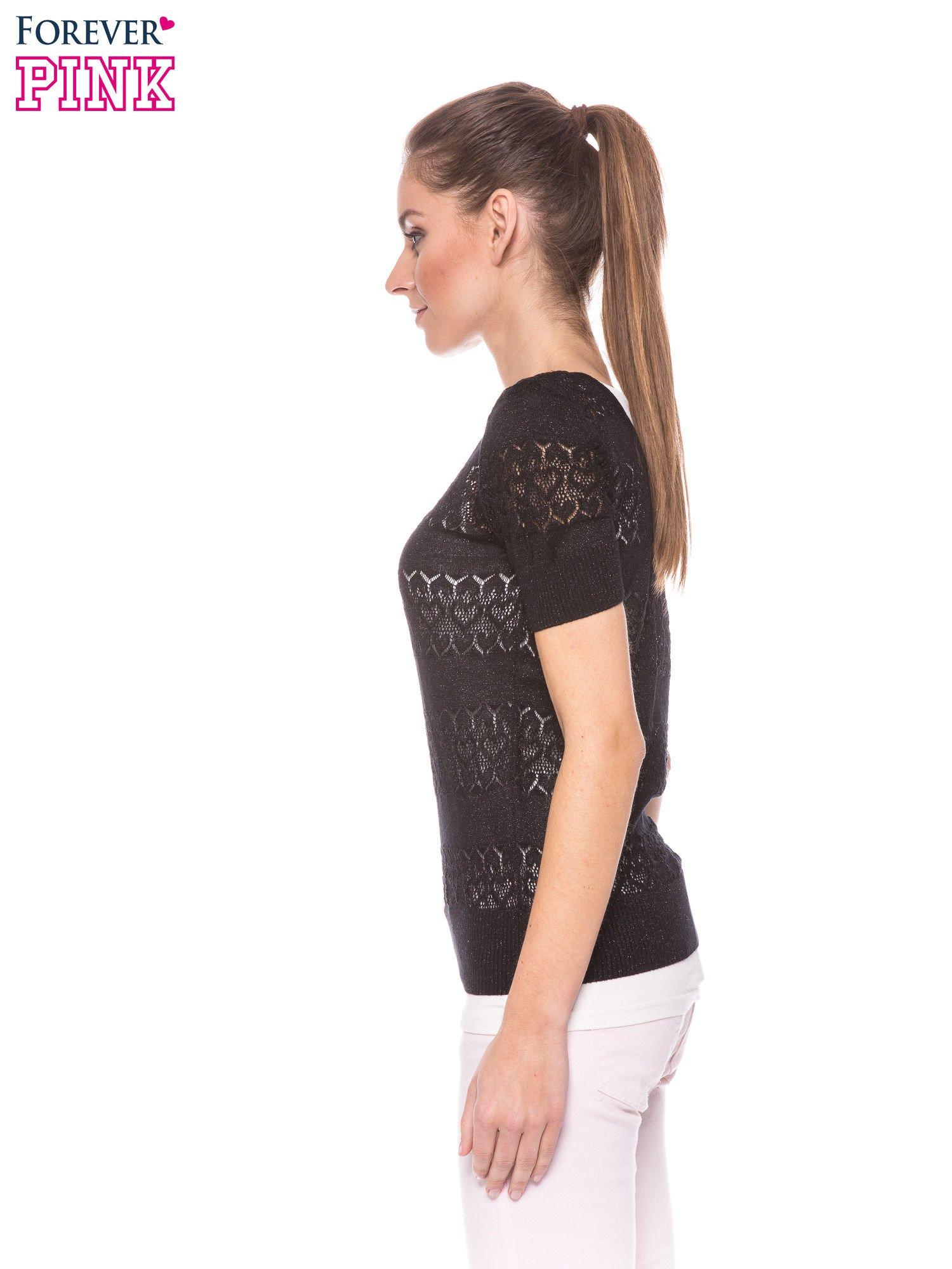 Czarny ażurowy sweterek w stylu retro                                  zdj.                                  3