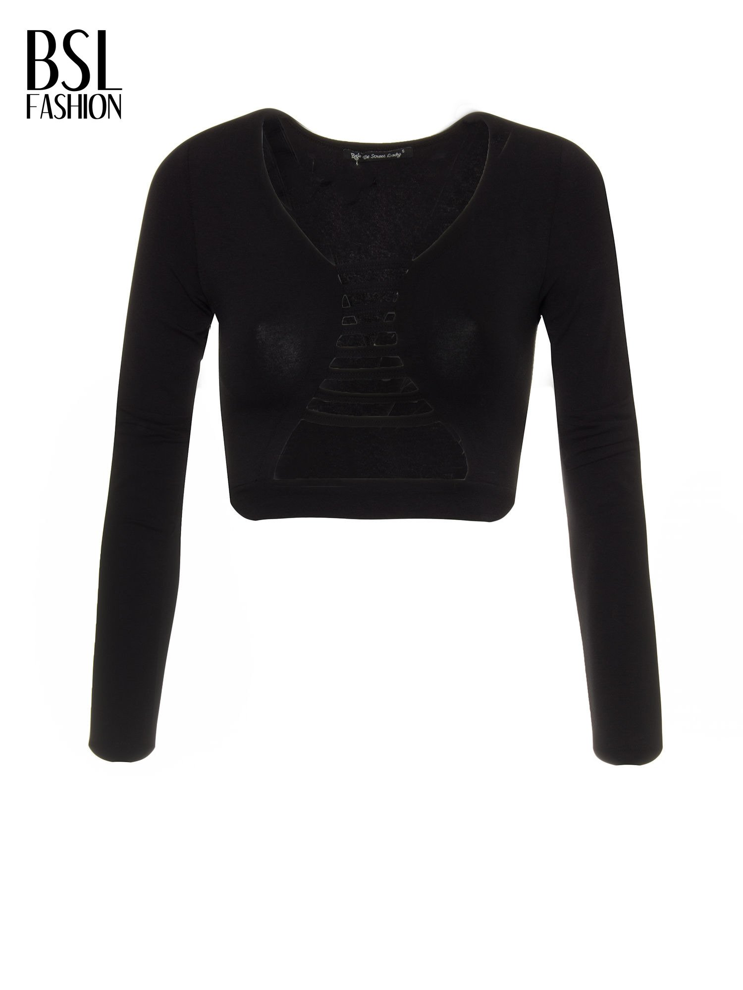Czarny crop top typu cut out                                  zdj.                                  5