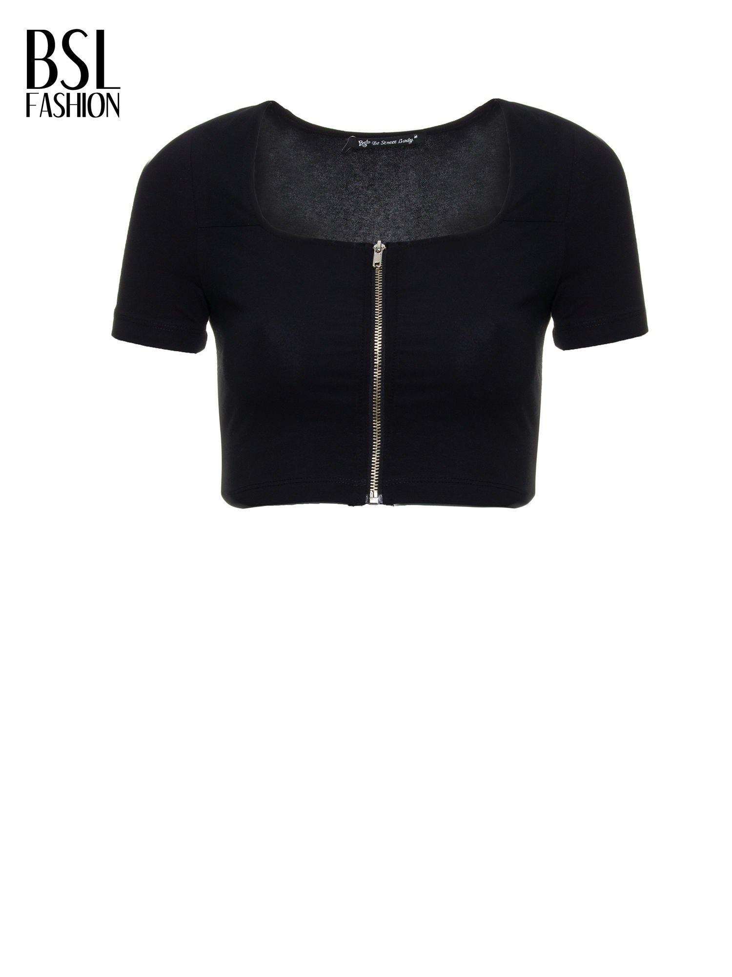 b35232ca01d3 Czarny crop top z zamkiem z przodu - T-shirt top - sklep eButik.pl