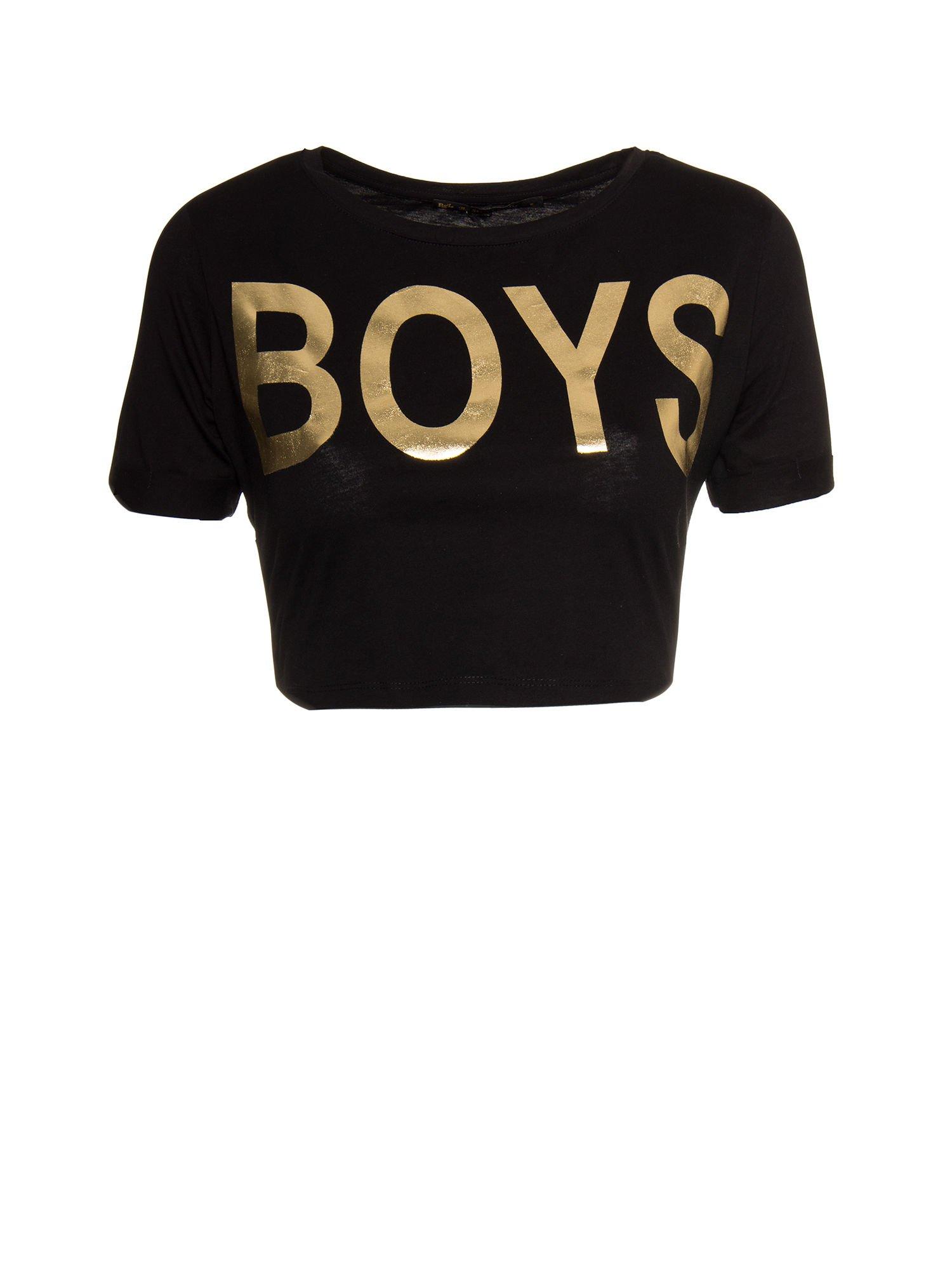 Czarny cropped t-shirt ze złotym napisem BOYS                                  zdj.                                  7