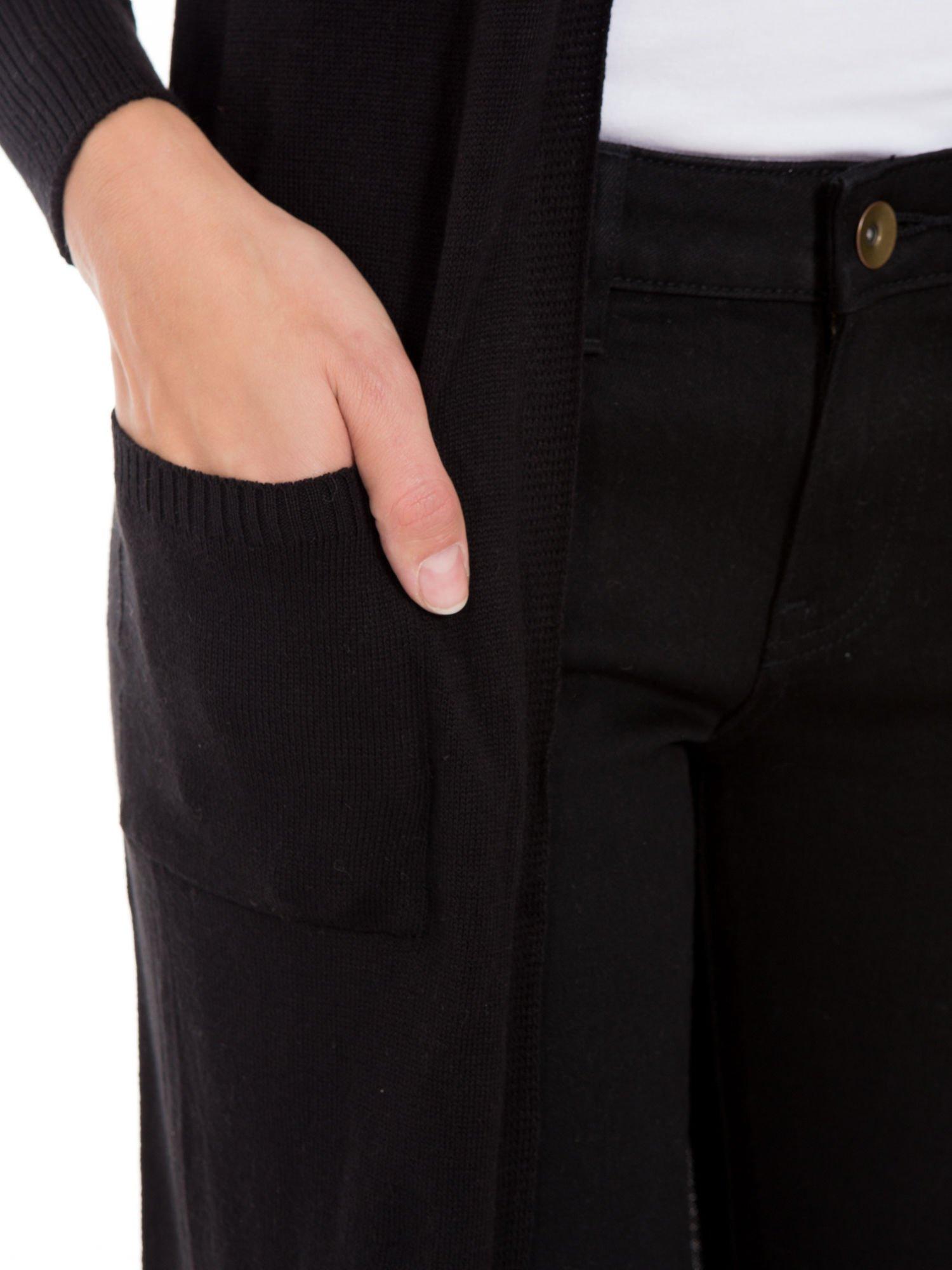 Czarny długi gładki sweter kardigan z kieszeniami                                  zdj.                                  8
