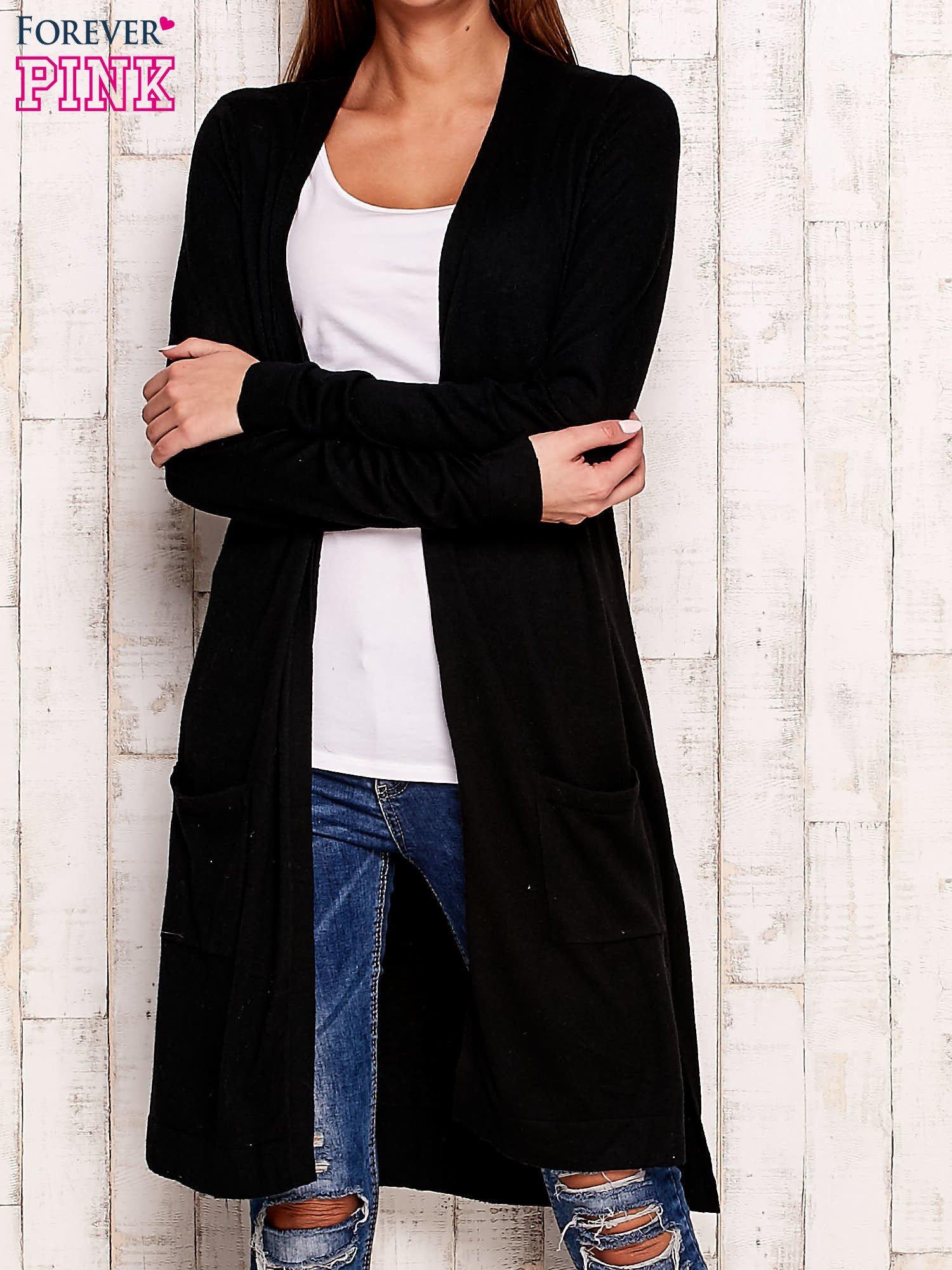 Czarny długi sweter oversize                                  zdj.                                  1