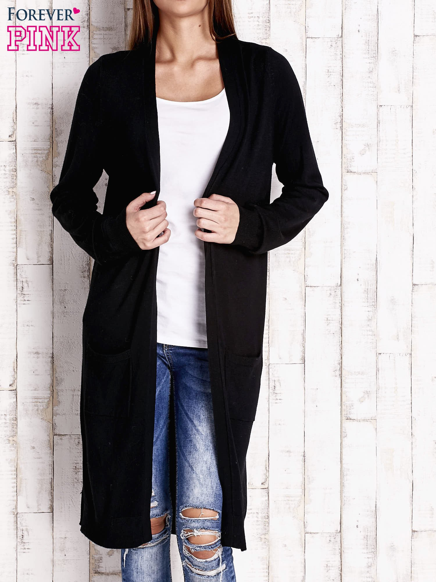 Czarny długi sweter z otwartym dekoltem                                  zdj.                                  1