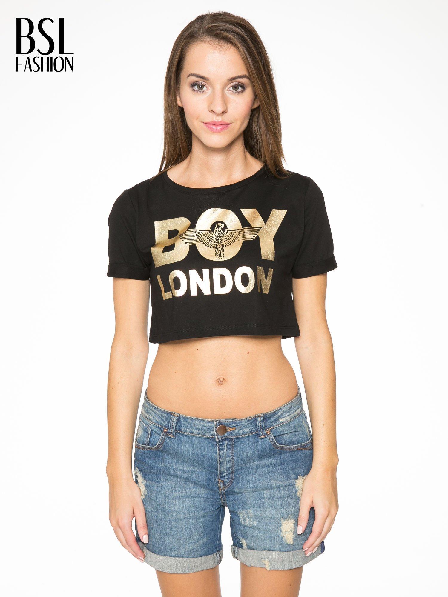 Czarny krótki t-shirt przed pępek z napisem BOY LONDON                                  zdj.                                  1