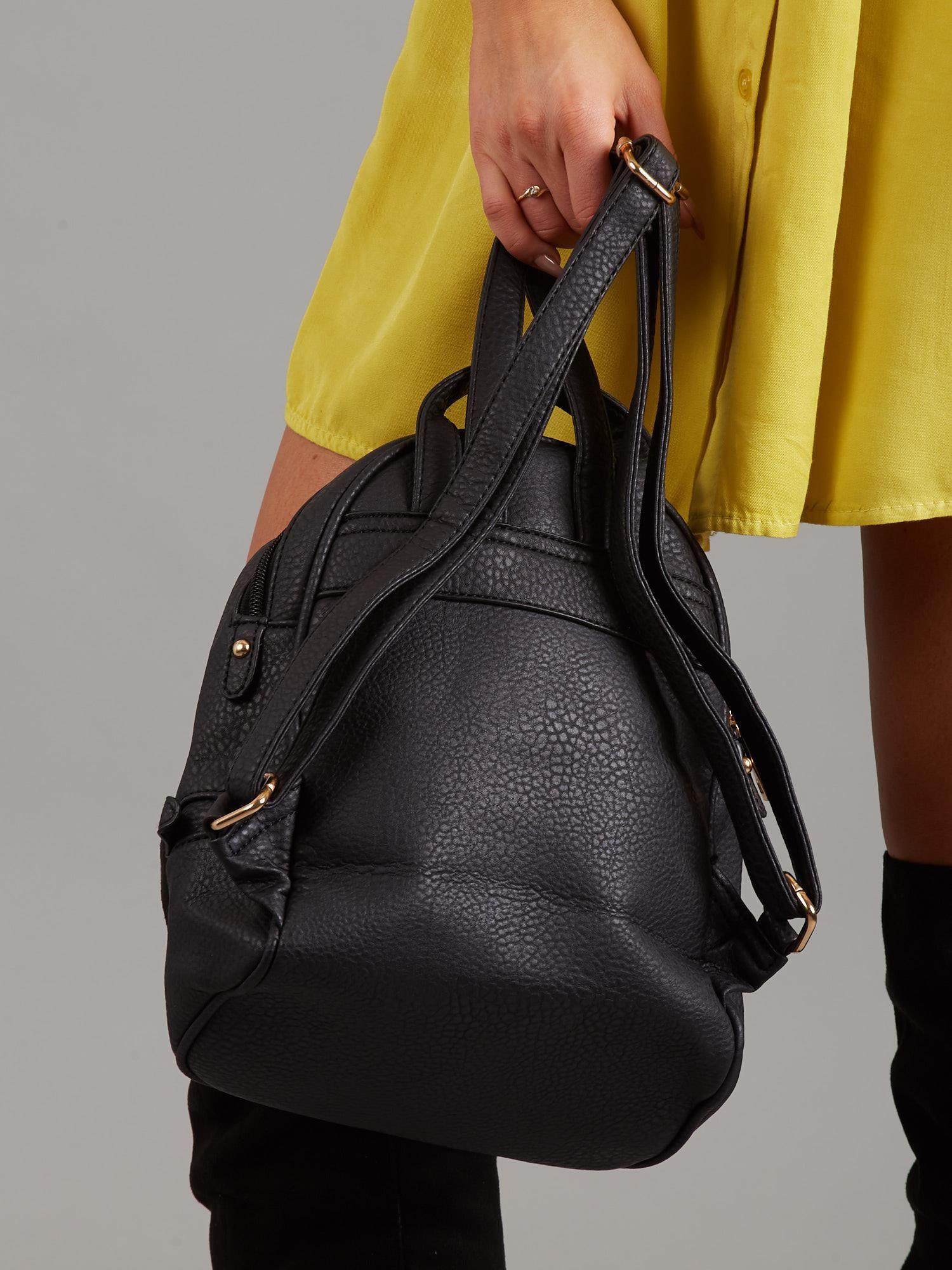260fb9be9eacb Czarny mały plecak ze skóry ekologicznej - Akcesoria torba - sklep ...
