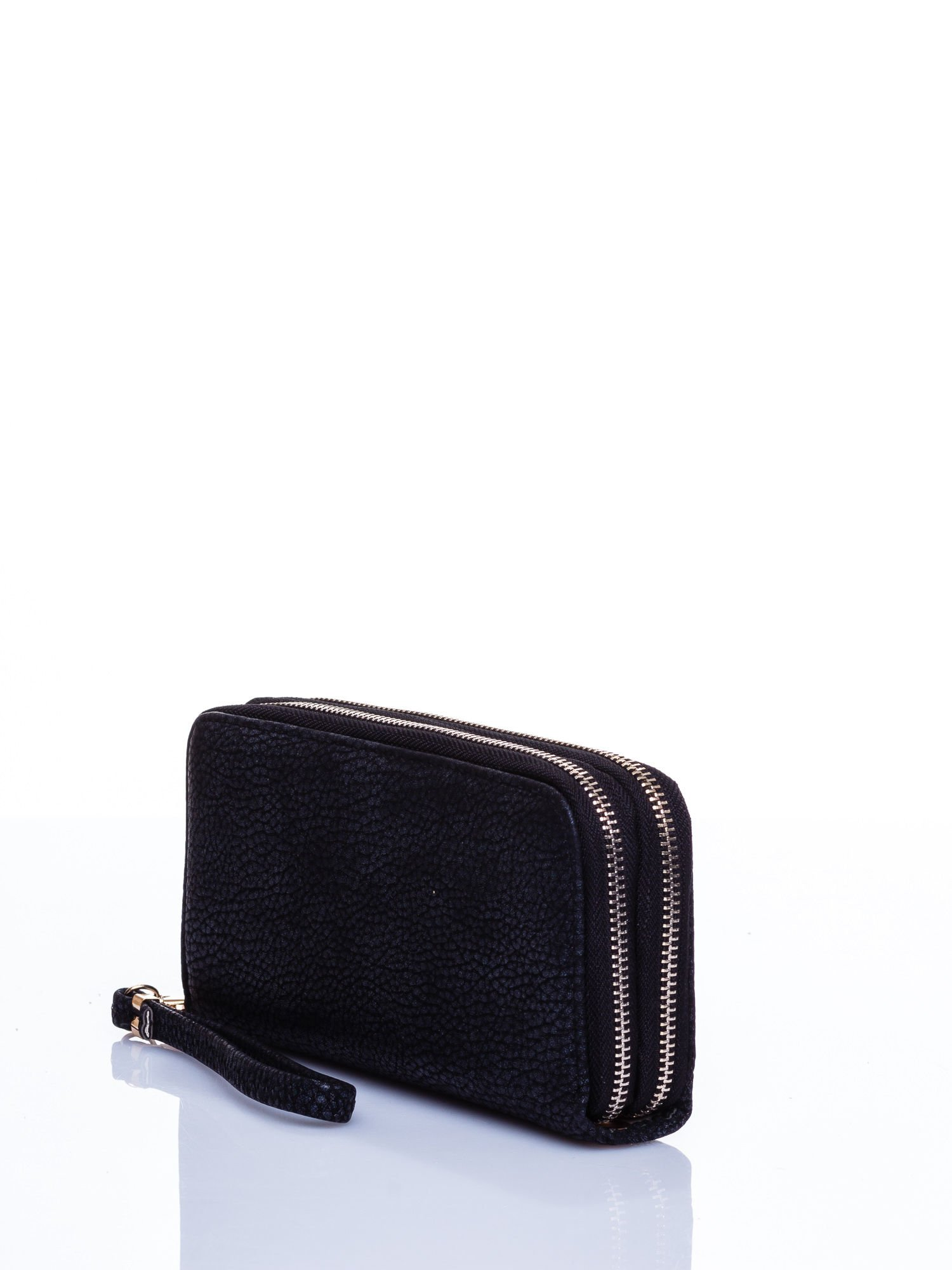 Czarny matowy portfel z rączką                                  zdj.                                  2