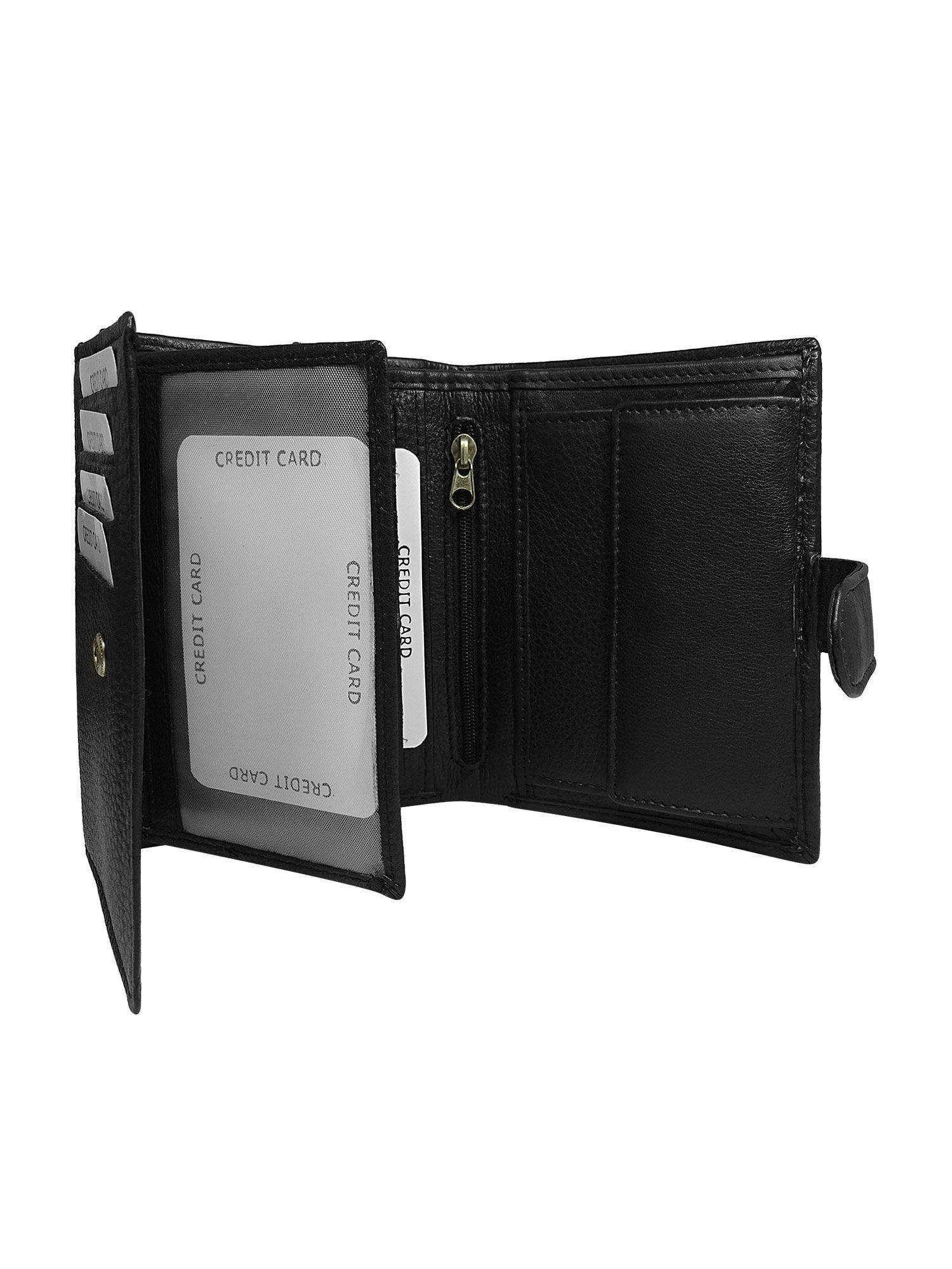 6700ed90d76a4 Czarny męski portfel skórzany z klapką - Mężczyźni portfel męski - sklep  eButik.pl