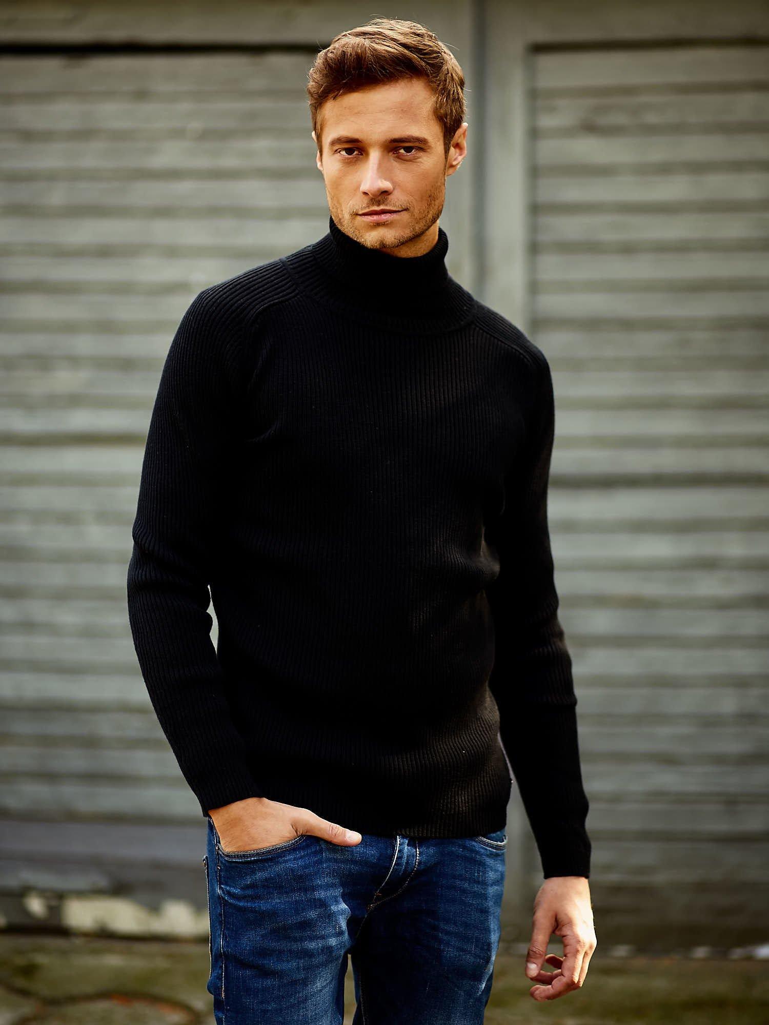 Czarny męski sweter z golfem FUNK N SOUL                                  zdj.                                  1