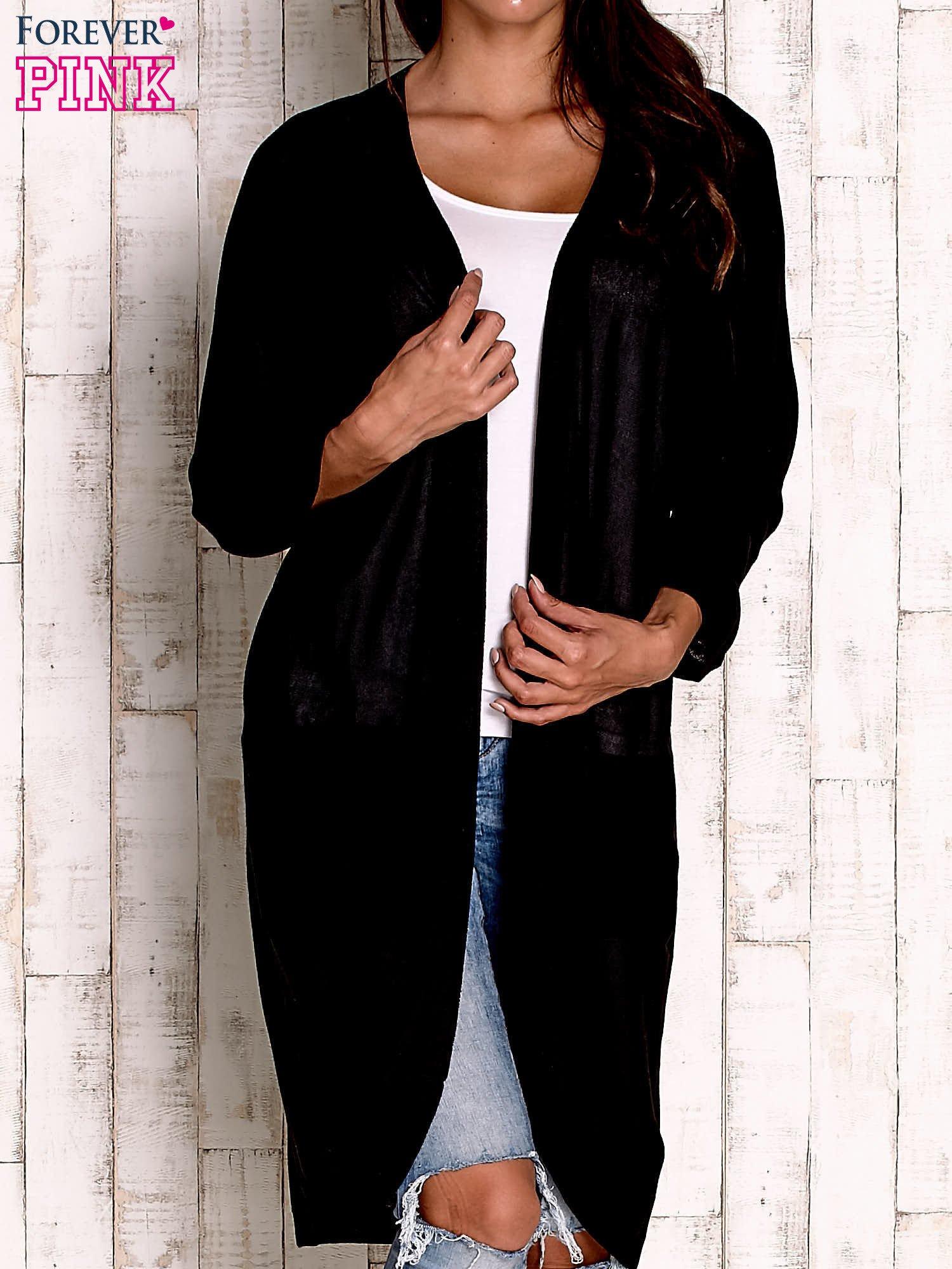 Czarny otwarty sweter z kieszeniami                                  zdj.                                  1
