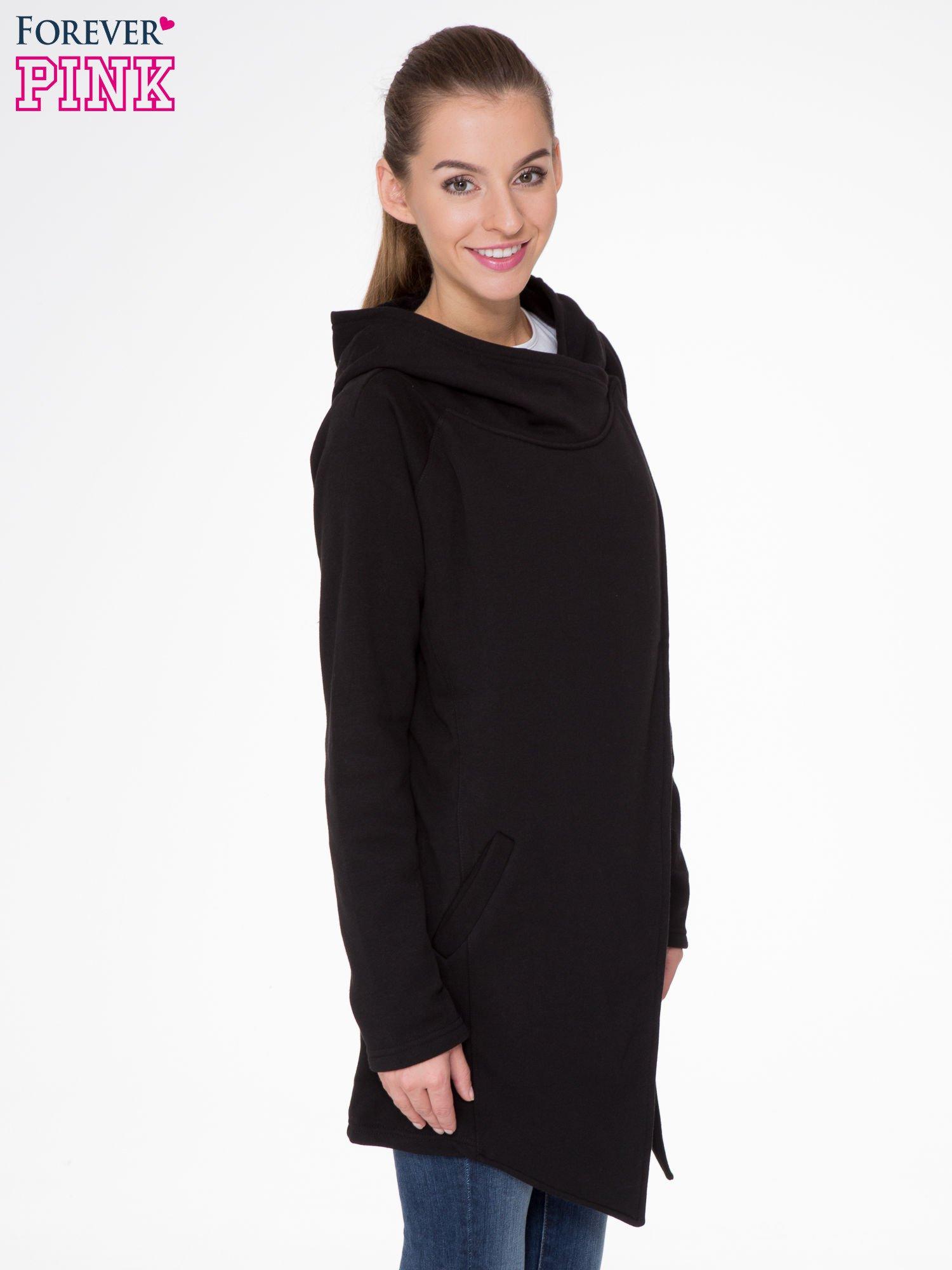 Czarny płaszcz dresowy z kapturem                                  zdj.                                  3