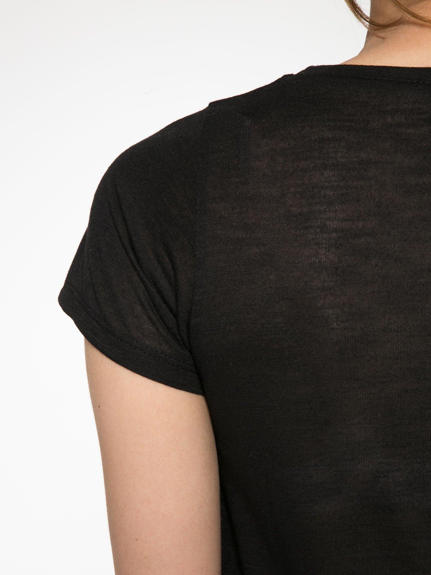 Czarny półtransparentny t-shirt basic                                  zdj.                                  9