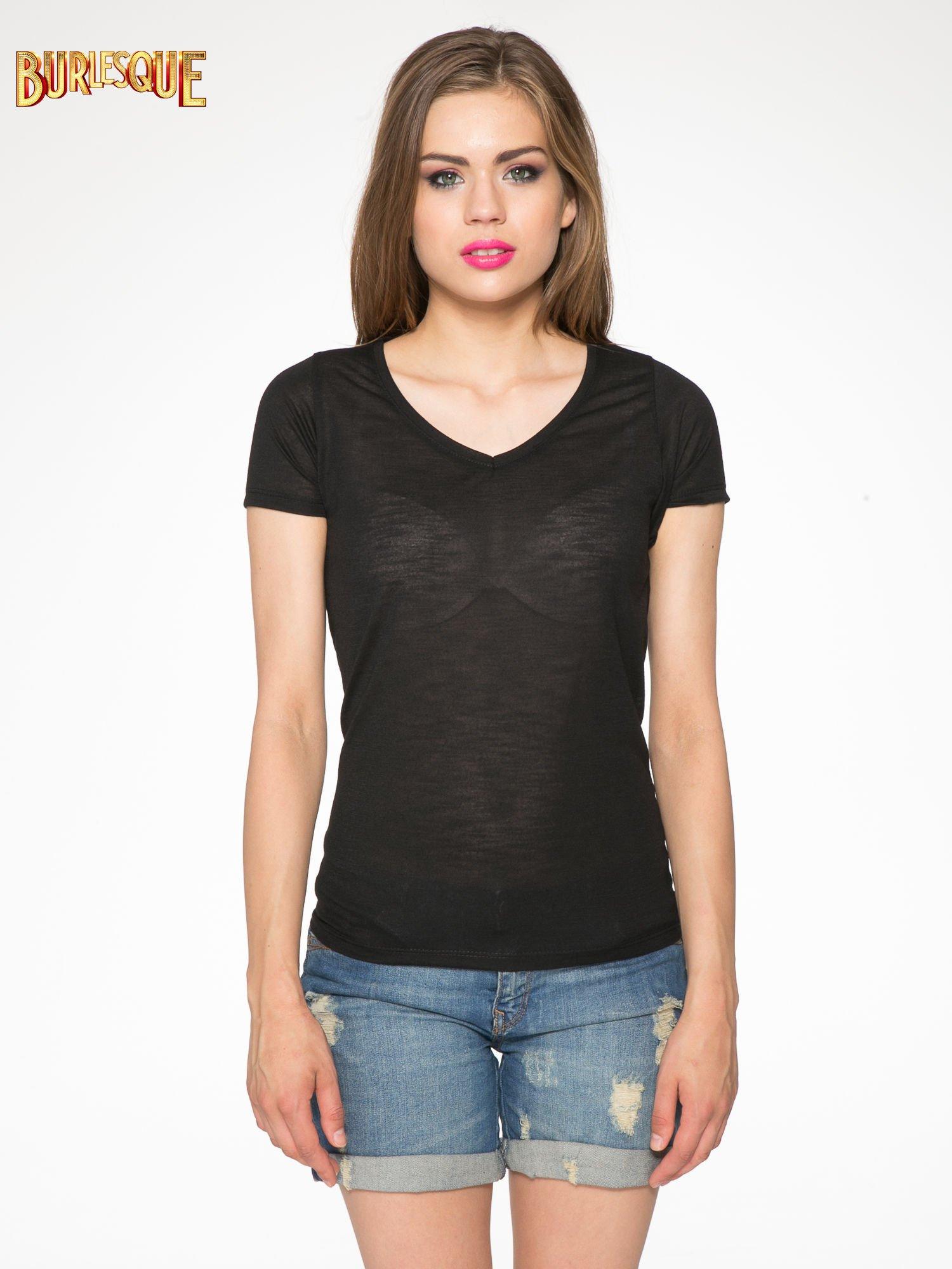 Czarny półtransparentny t-shirt basic                                  zdj.                                  10