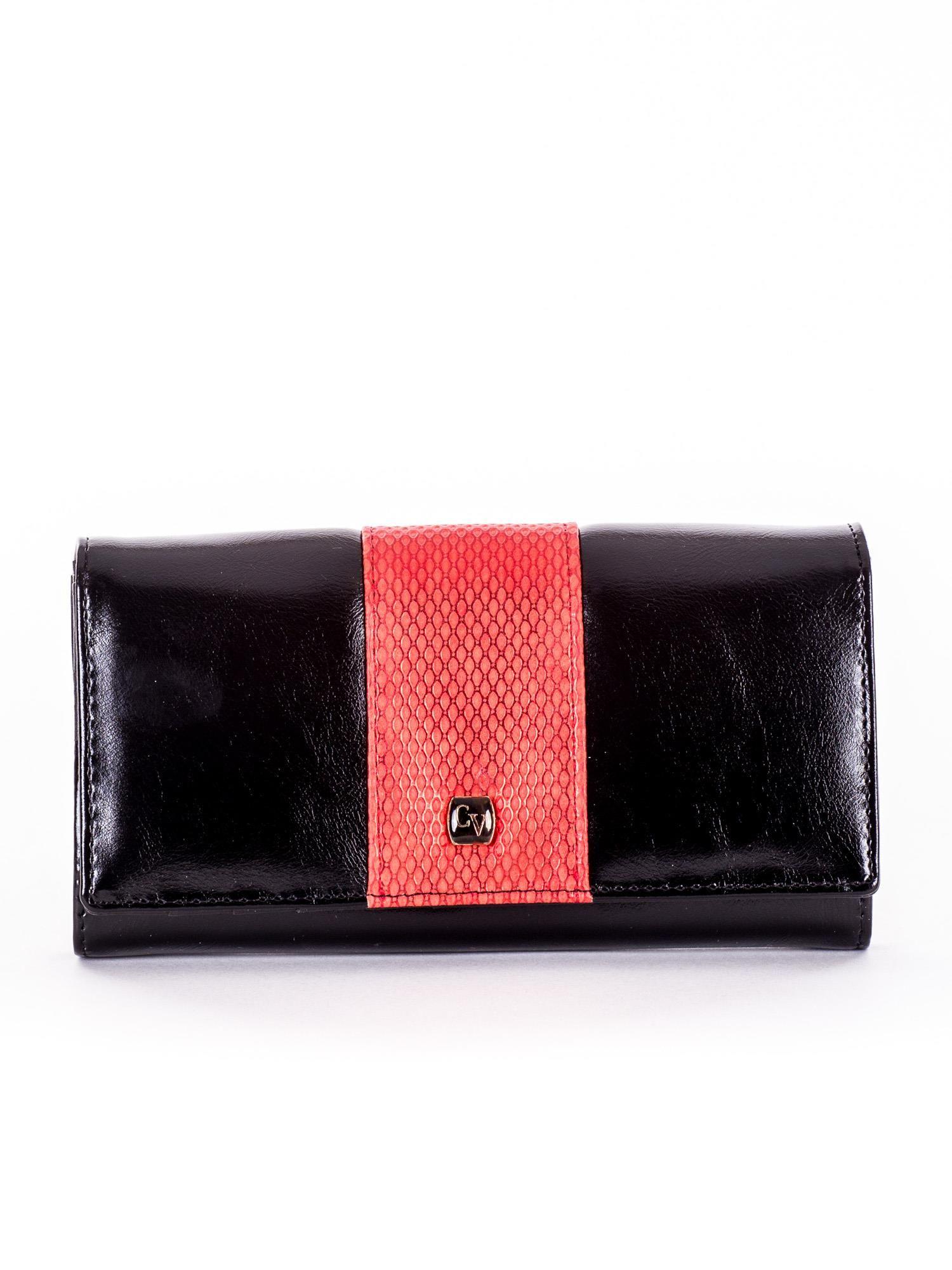 2a75c30a370ab Czarny portfel damski skórzany z czerwoną wstawką - Akcesoria portfele -  sklep eButik.pl